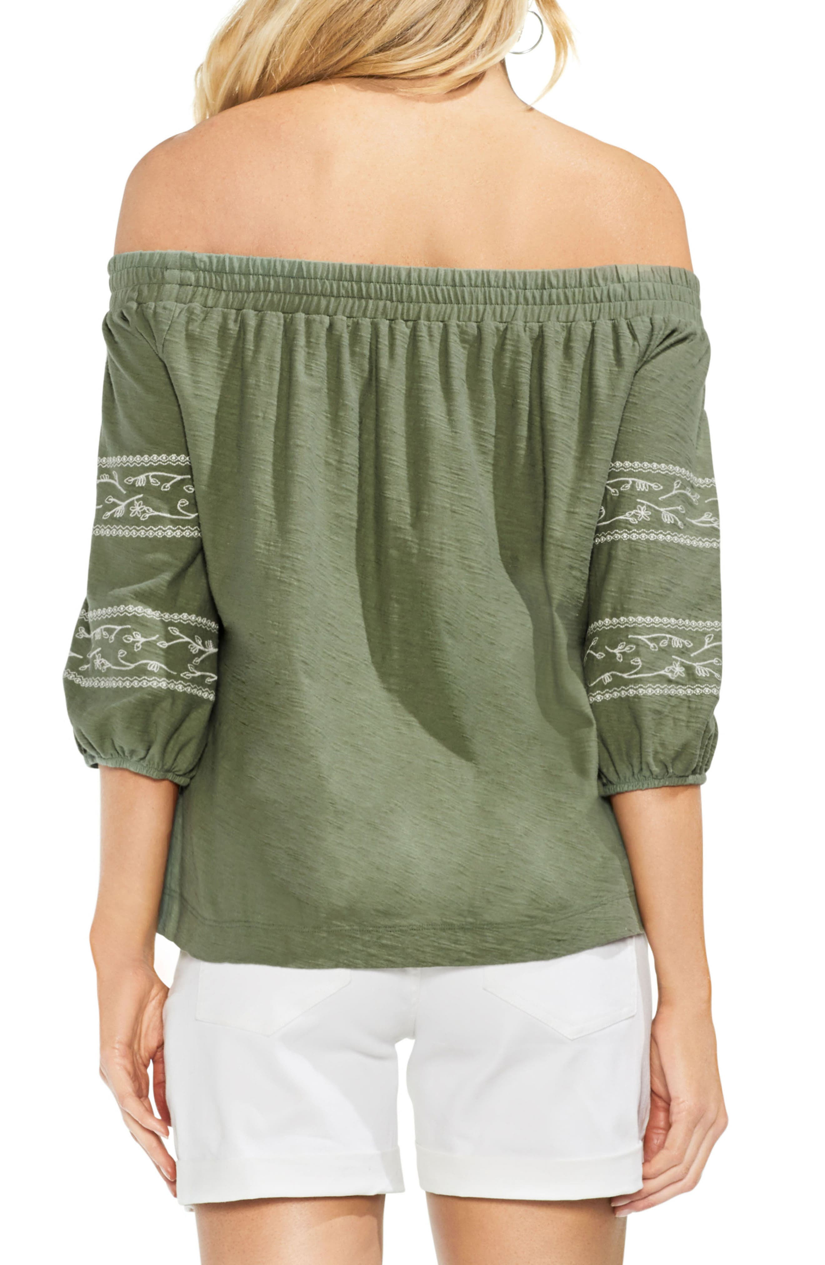 Embroidered Off the Shoulder Top,                             Alternate thumbnail 2, color,                             Canopy Green