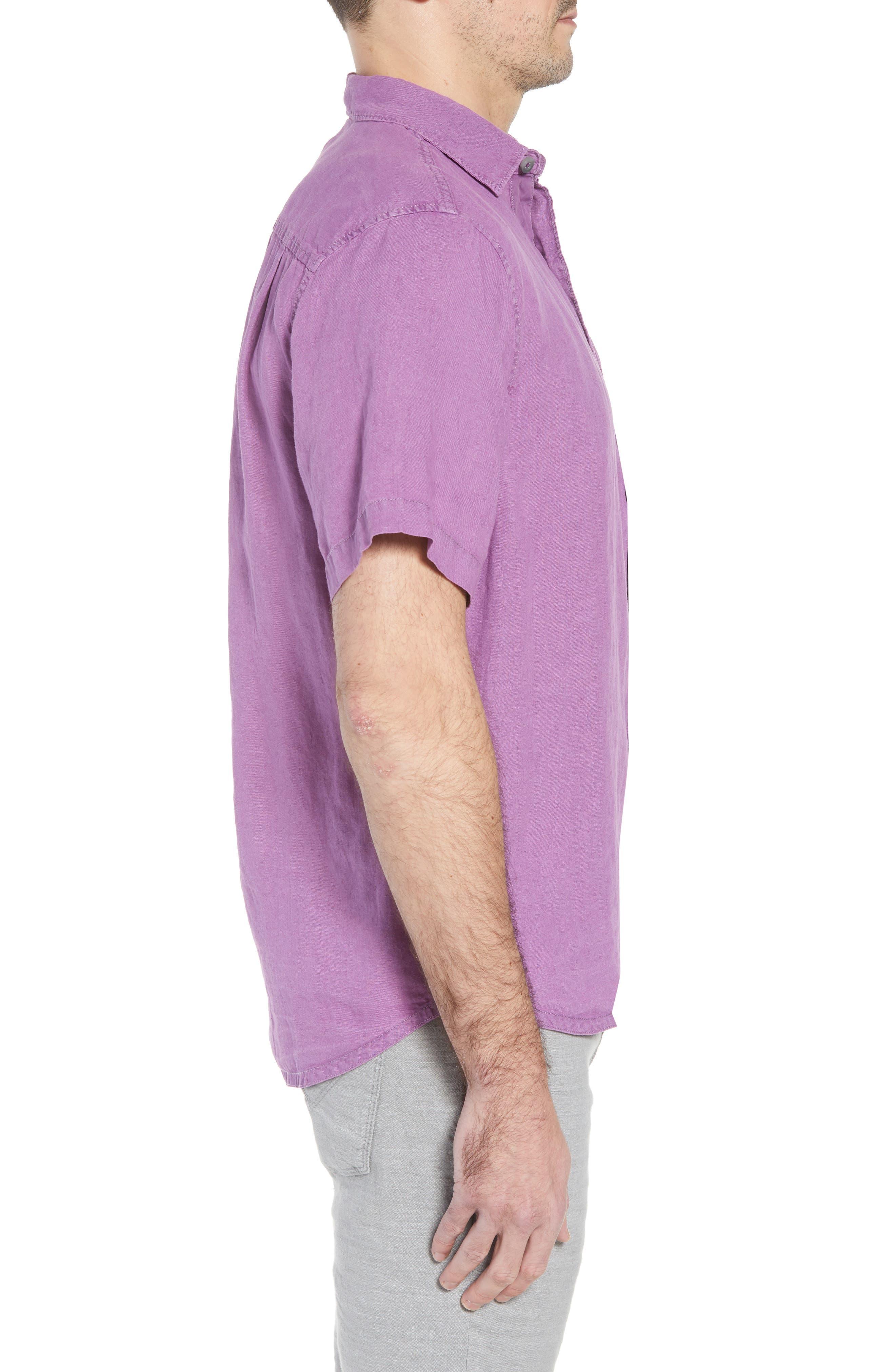 Seaspray Breezer Regular Fit Linen Sport Shirt,                             Alternate thumbnail 4, color,                             Sparkling Grape
