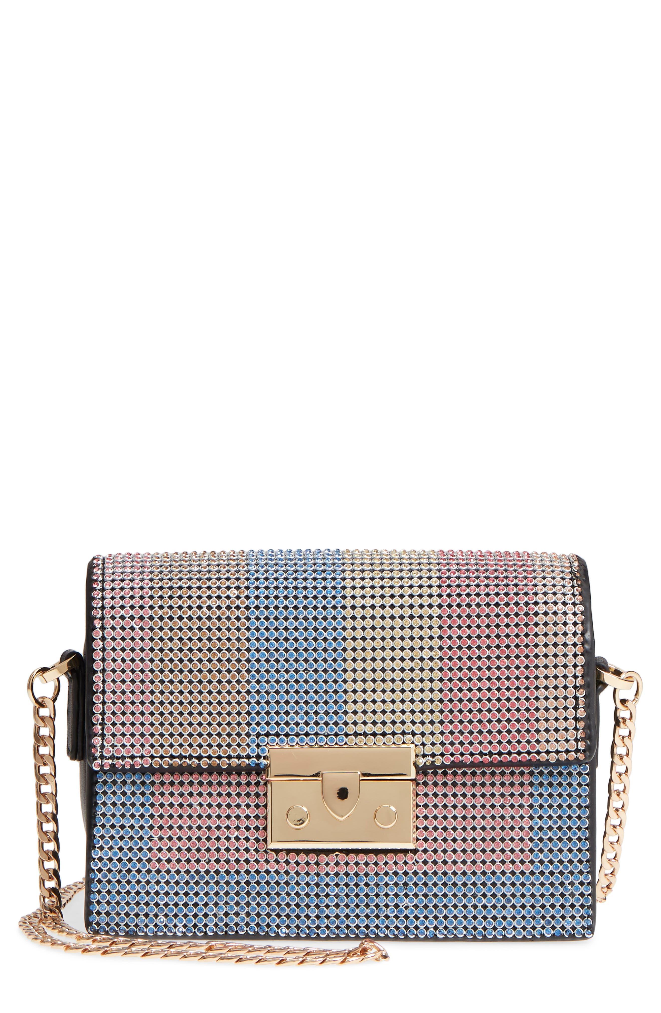 Rosie Diamante Rainbow Crossbody Bag,                             Main thumbnail 1, color,                             Black Multi