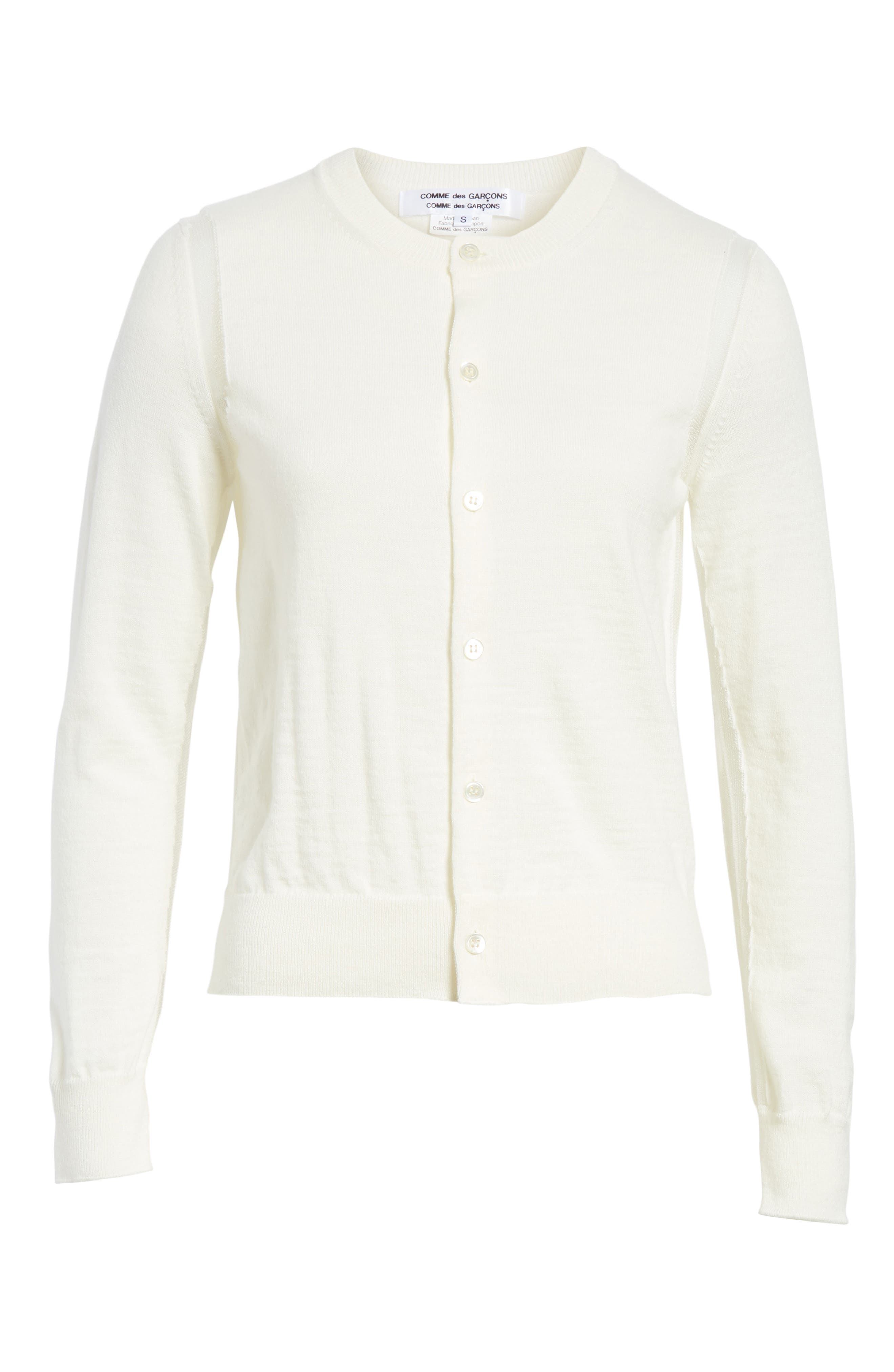 Sheer Panel Button Cardigan,                             Alternate thumbnail 6, color,                             Off White