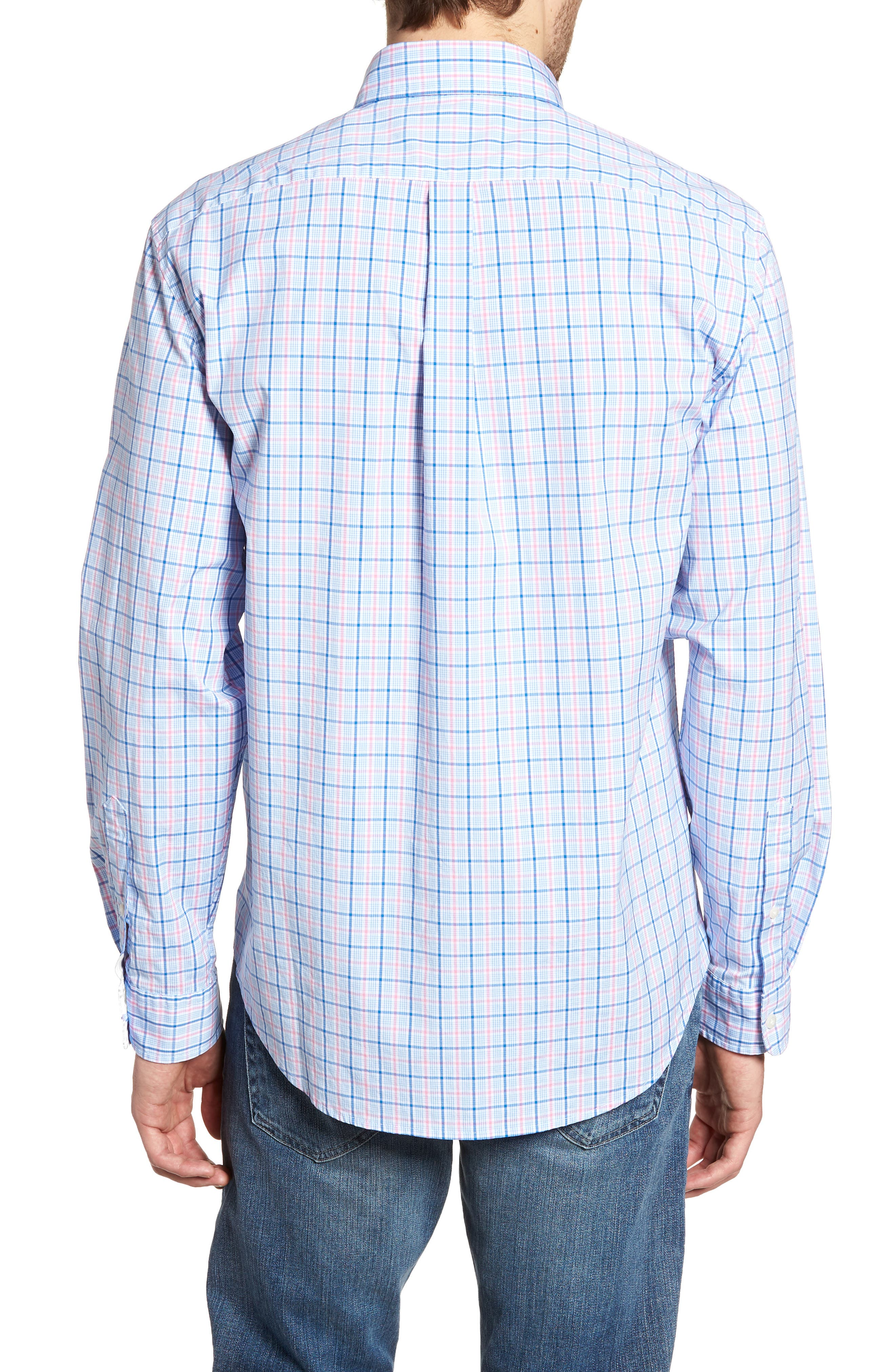 Sir Christie Classic Fit Check Sport Shirt,                             Alternate thumbnail 3, color,                             Spinnaker