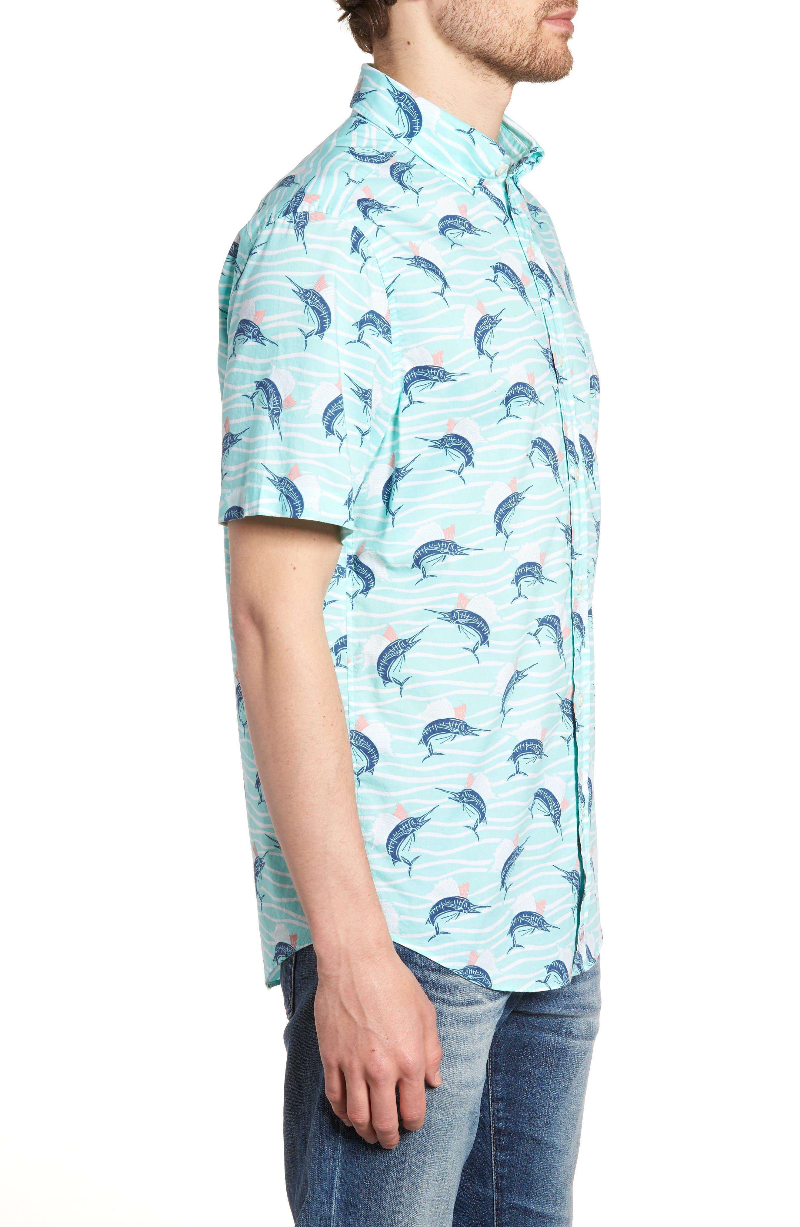 Classic Fit Print Short Sleeve Sport Shirt,                             Alternate thumbnail 4, color,                             Pool Side