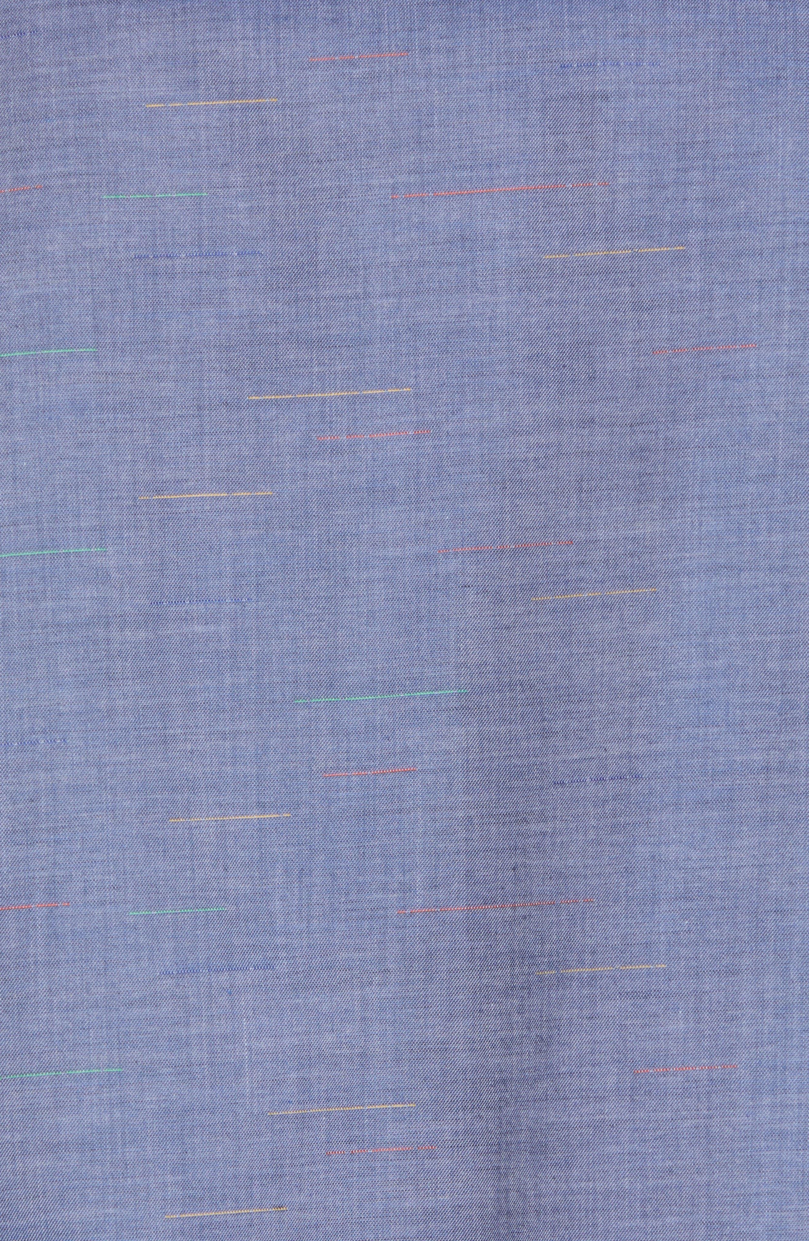 Regular Fit Chambray Sport Shirt,                             Alternate thumbnail 5, color,                             Blue