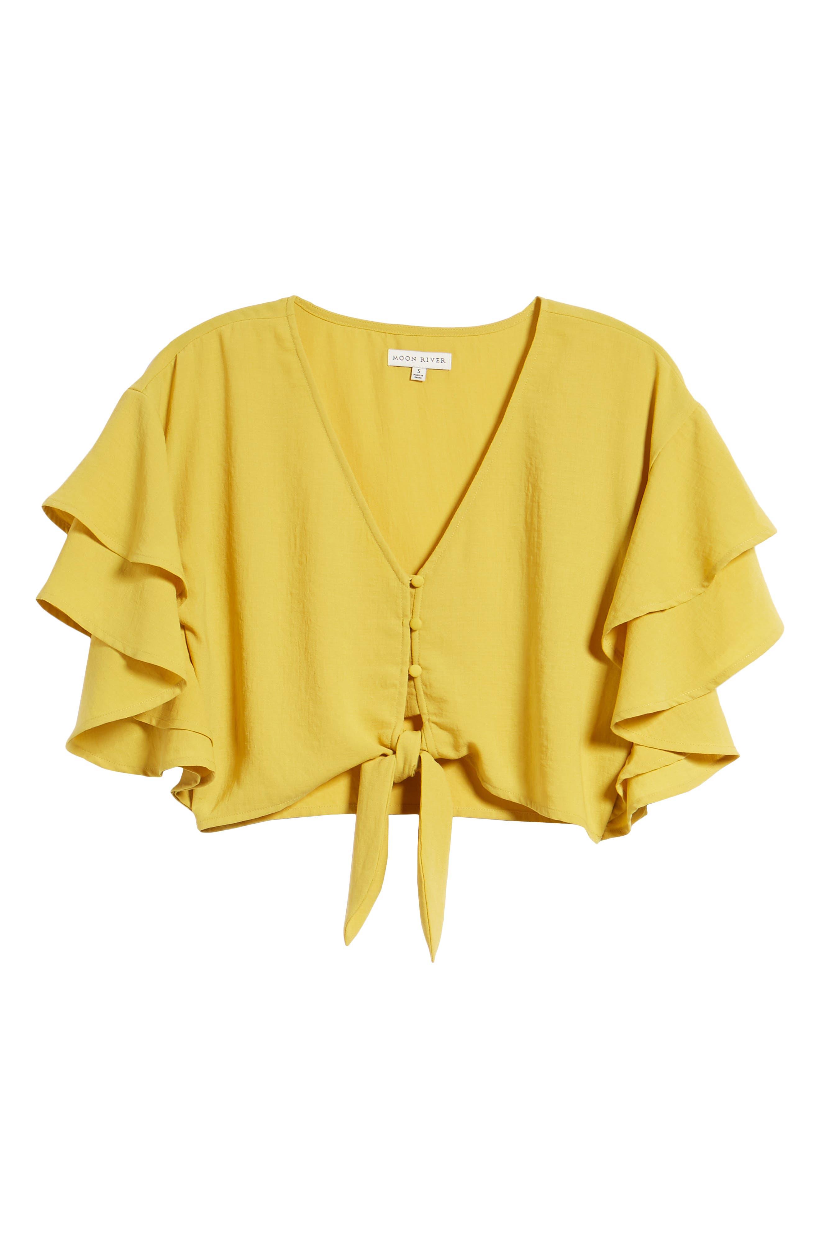 Ruffle Sleeve Crop Top,                             Alternate thumbnail 7, color,                             Marigold