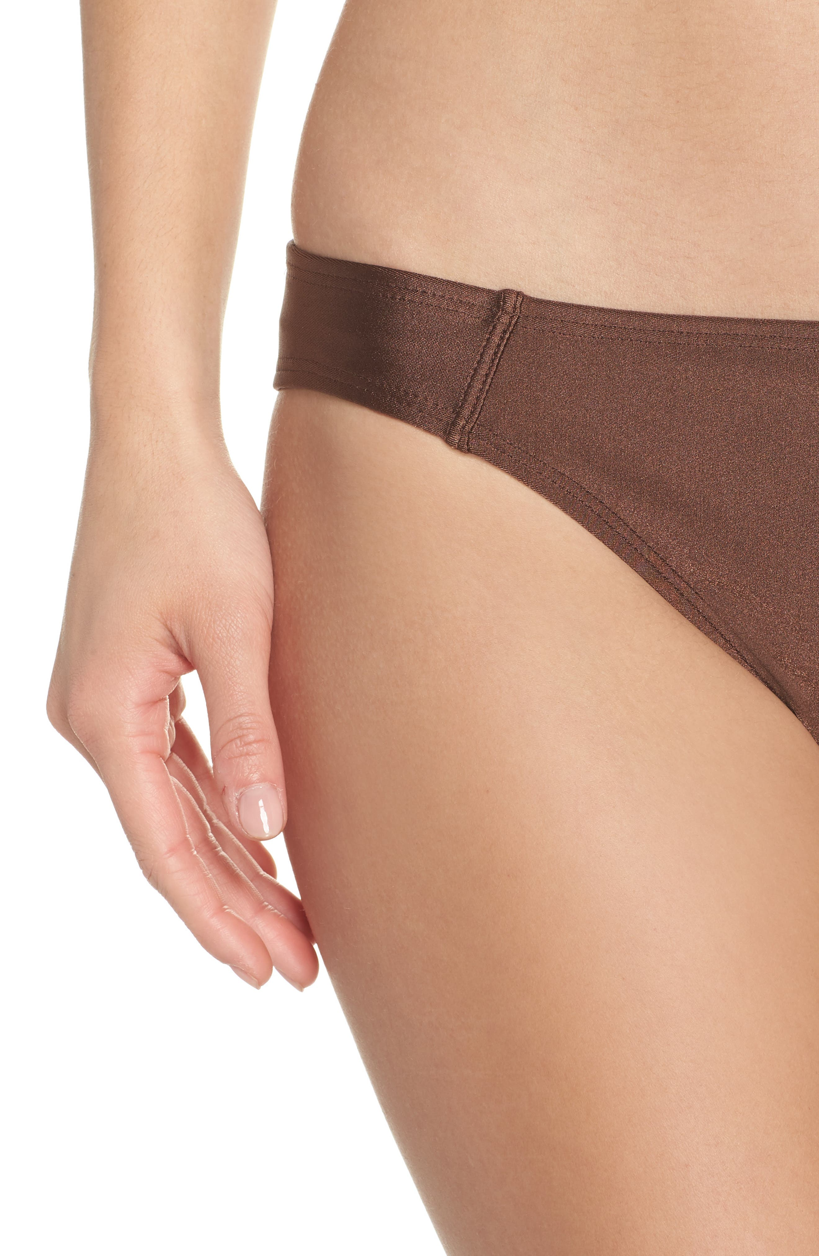 Banded Hipster Bikini Bottoms,                             Alternate thumbnail 4, color,                             Chocolate Glint
