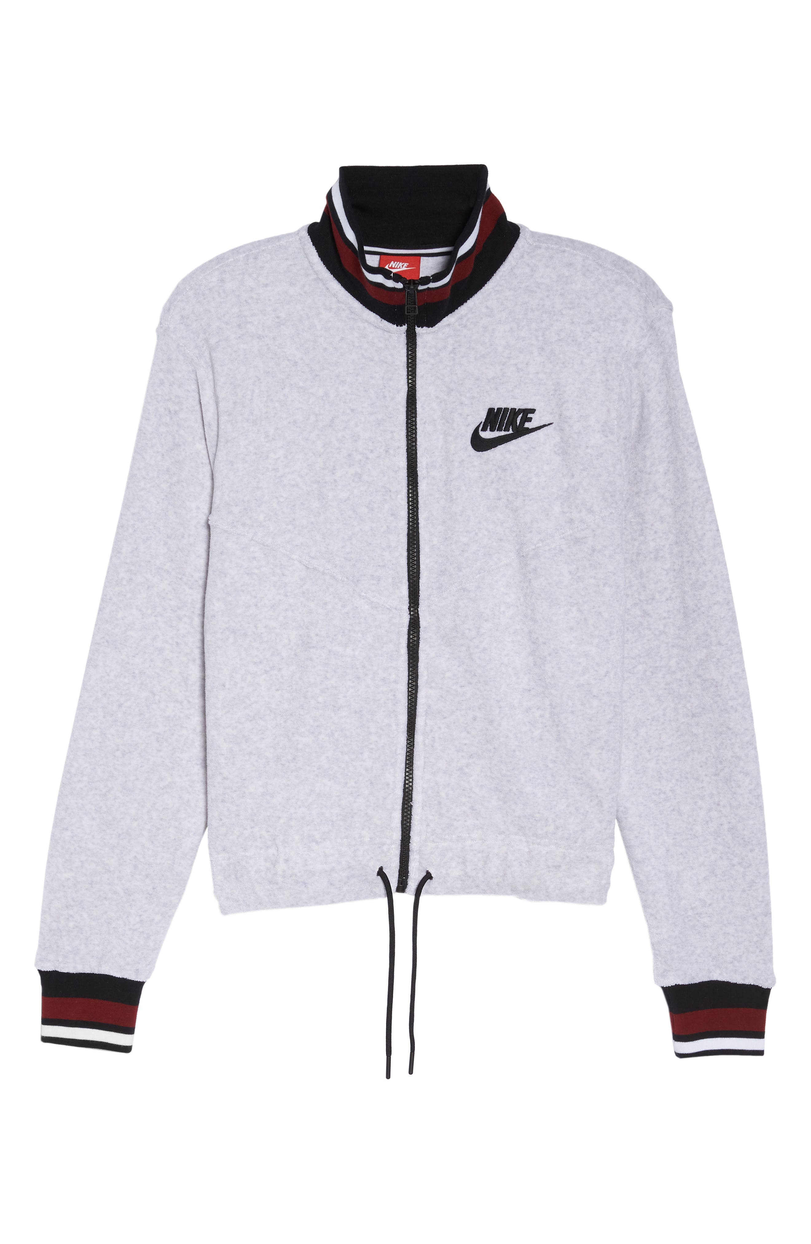 Sportswear French Terry Jacket,                             Alternate thumbnail 8, color,                             Birch Heather/ White/ Black