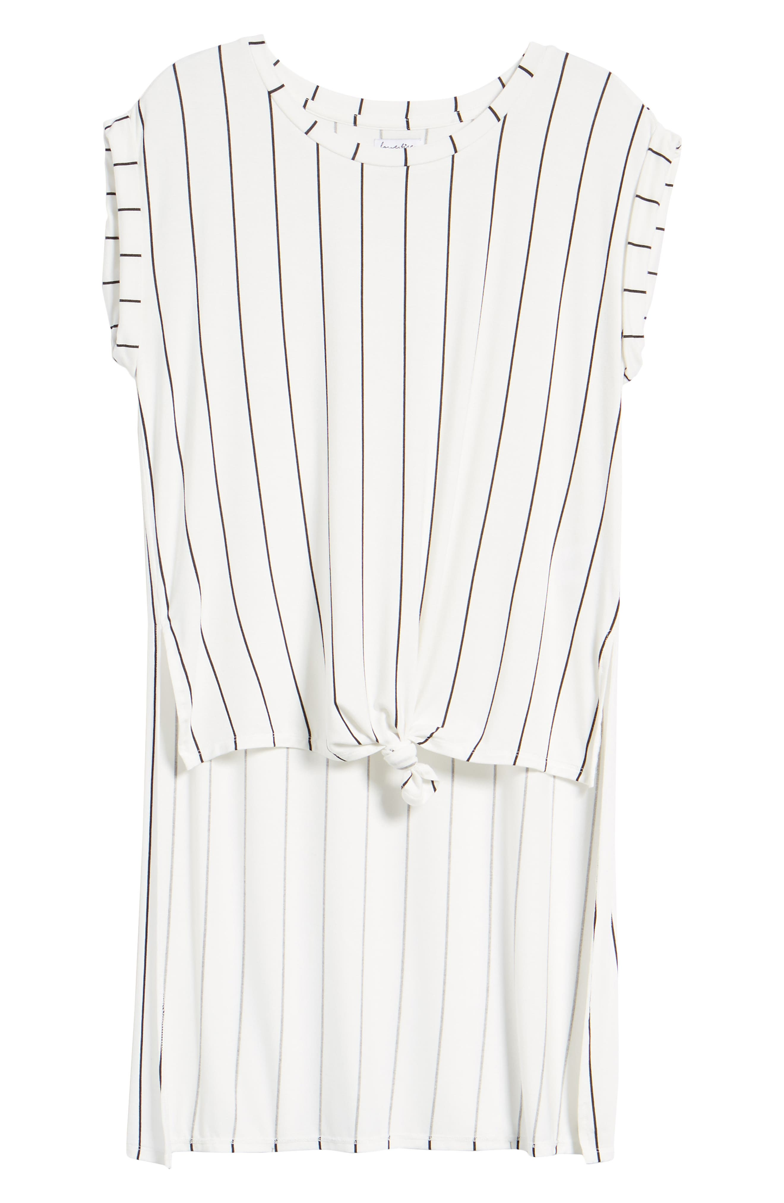 High/Low Knot Front Top,                             Alternate thumbnail 7, color,                             White/ Black Stripe