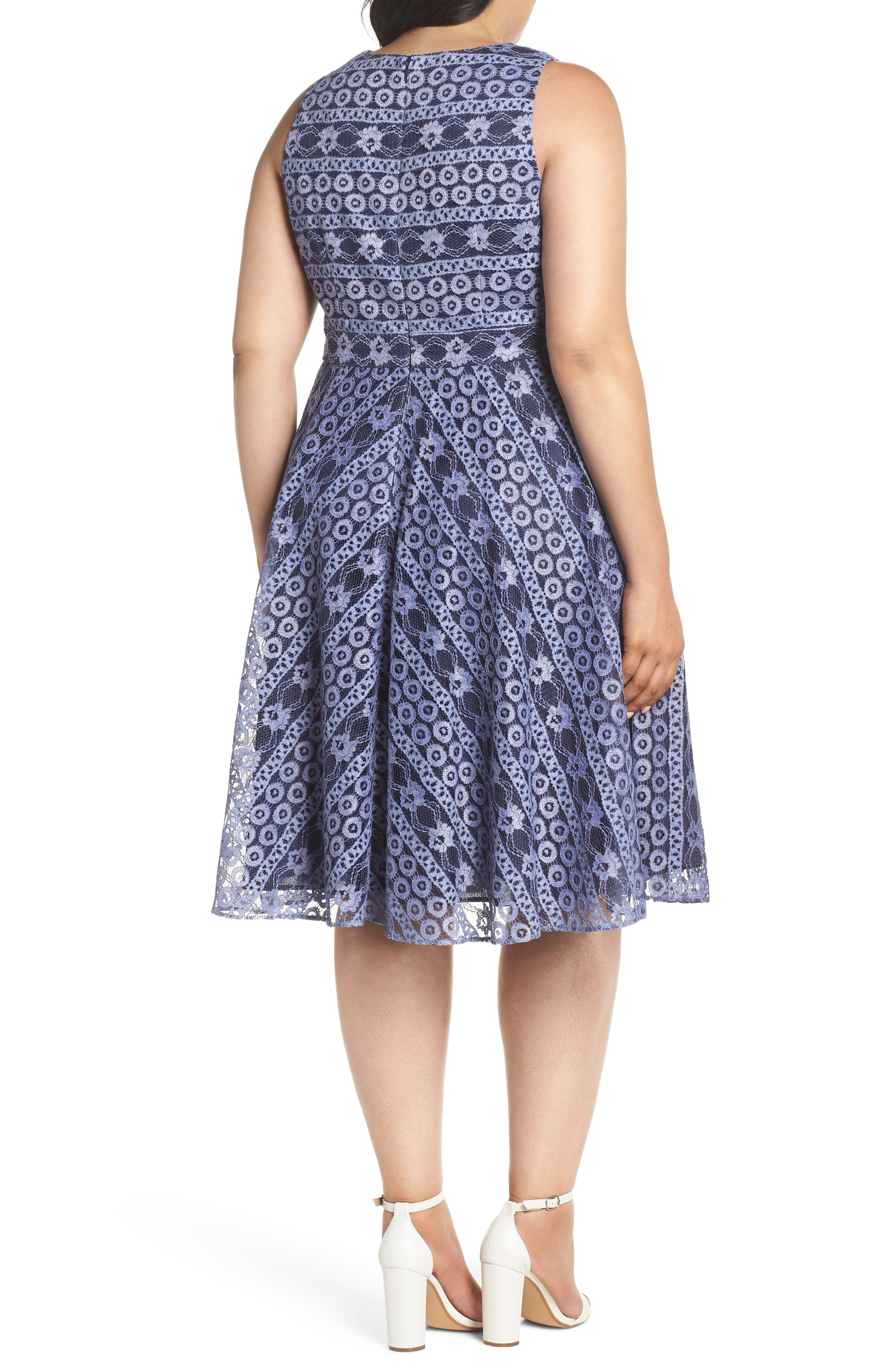 Stripe Lace A-Line Dress,                             Alternate thumbnail 2, color,                             Navy