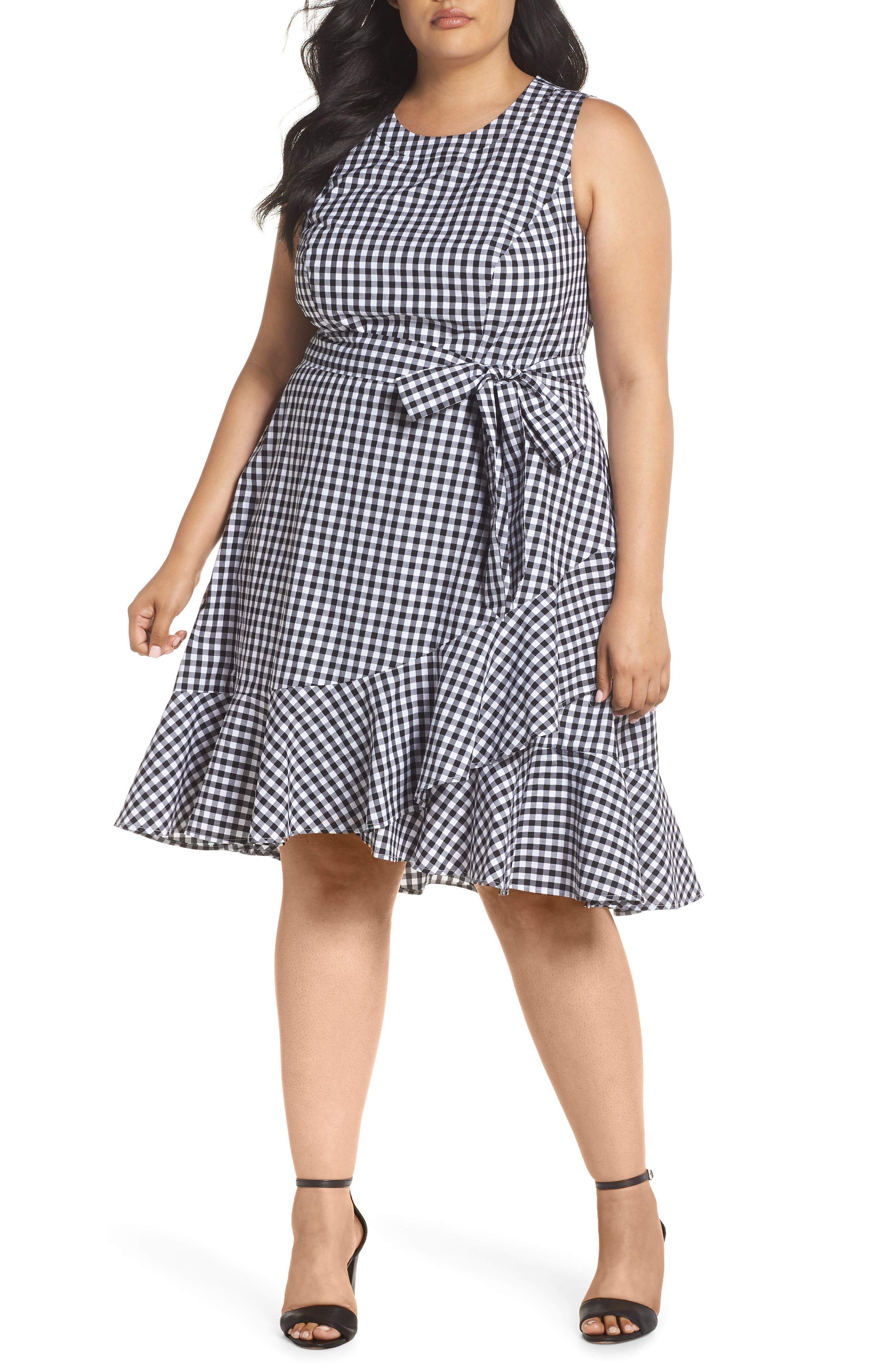 Belted Ruffle Hem Gingham Dress,                         Main,                         color, Black/ White