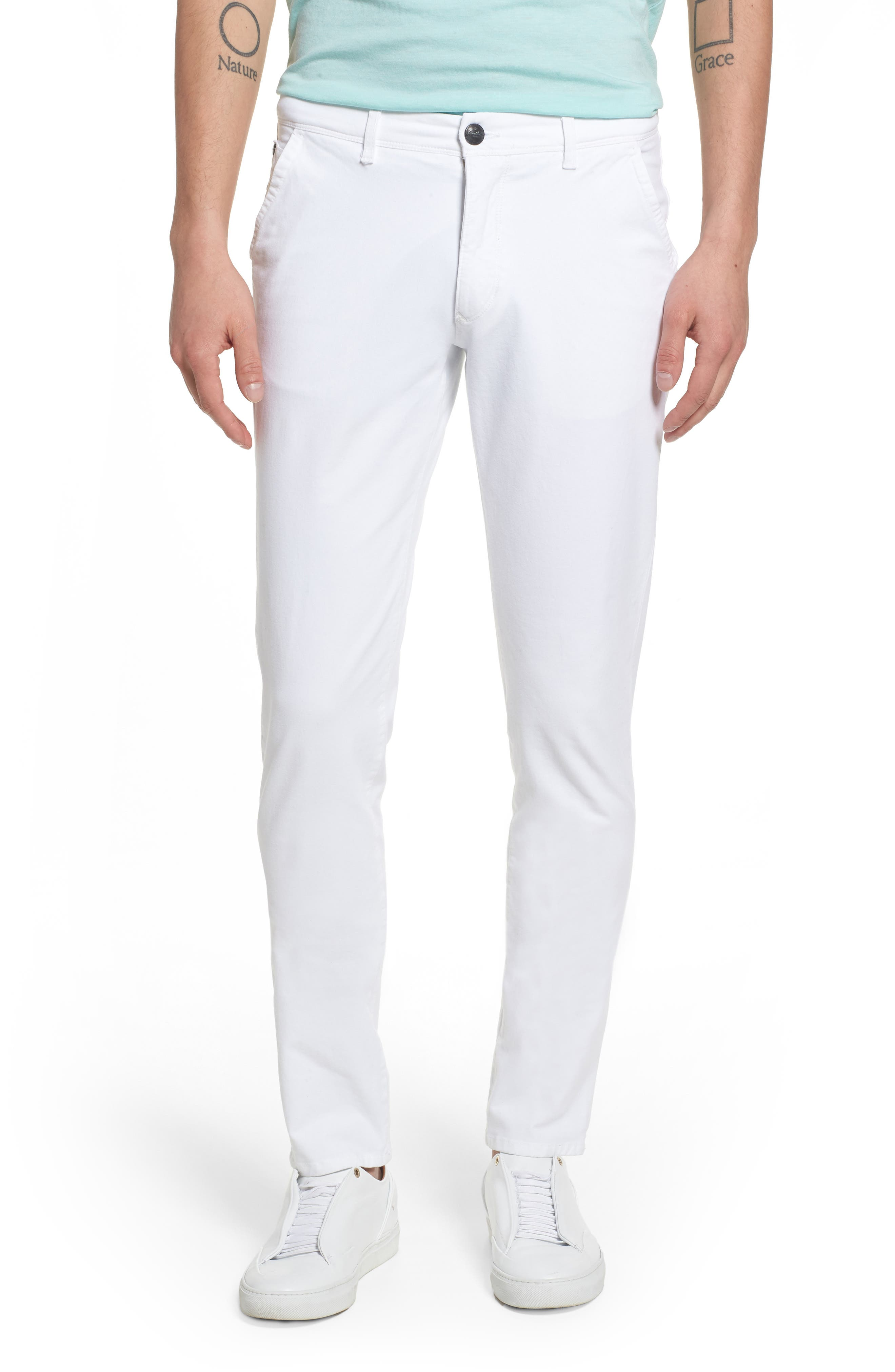 Hybrid Slim Fit Stretch Pants,                         Main,                         color, White