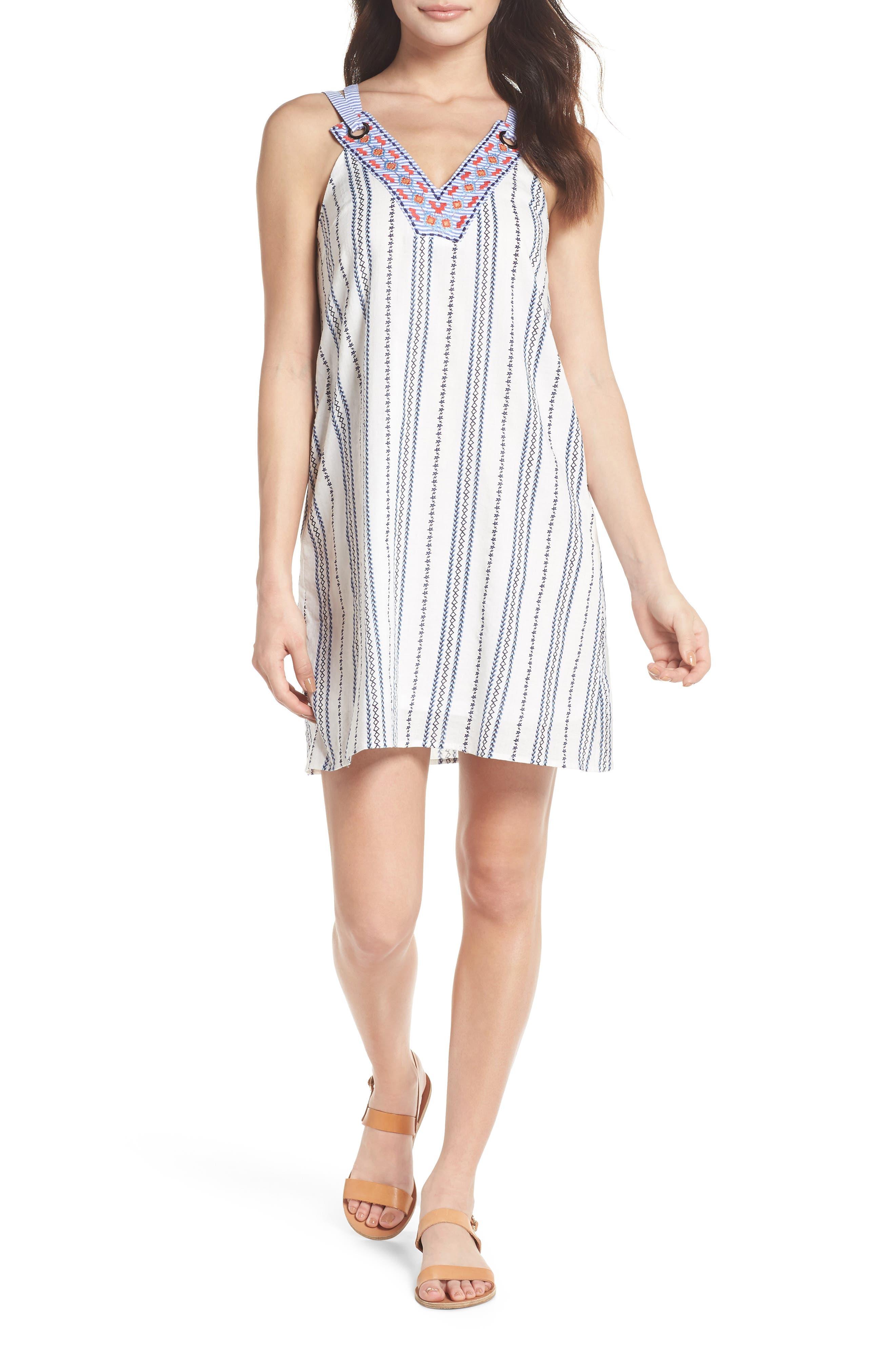 Stripe & Embroidery Shift Dress,                             Main thumbnail 1, color,                             White