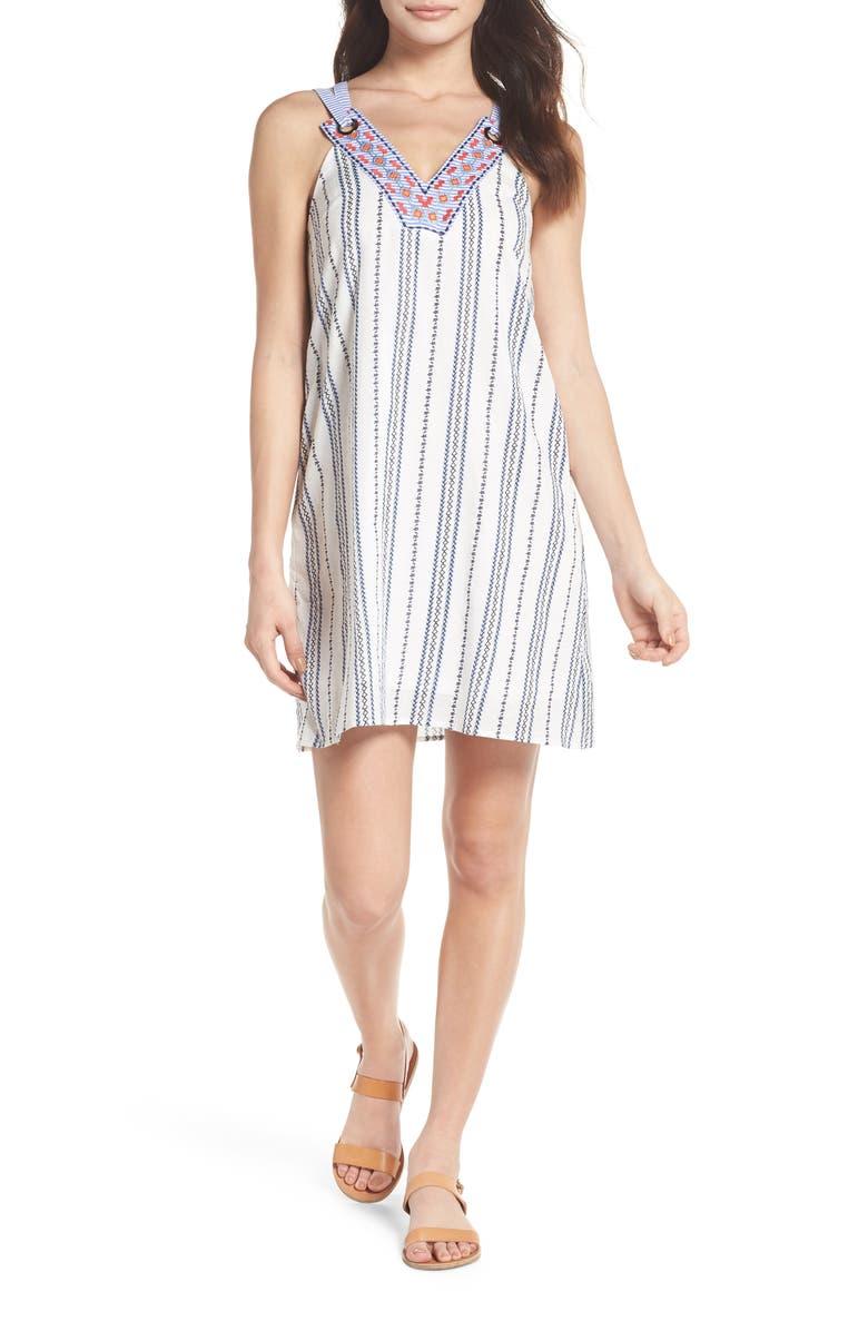 Stripe  Embroidery Shift Dress