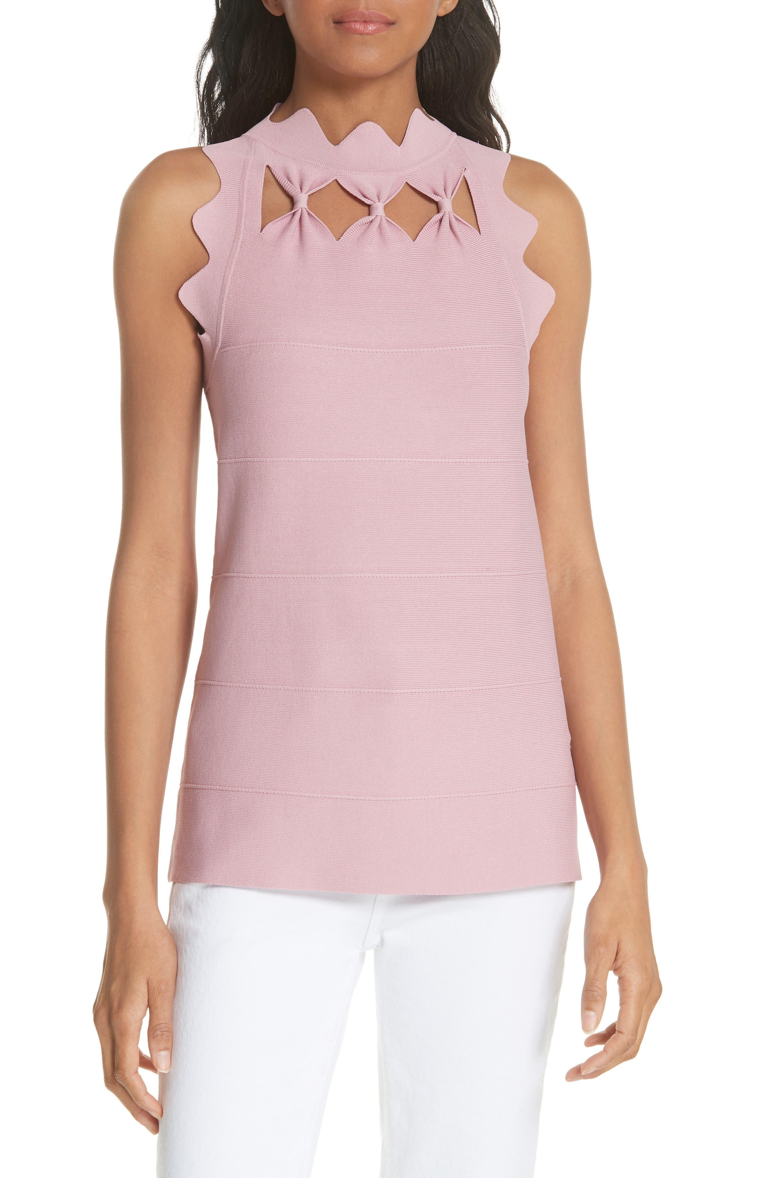 Bow Neck Knit Top,                         Main,                         color, Dusky Pink