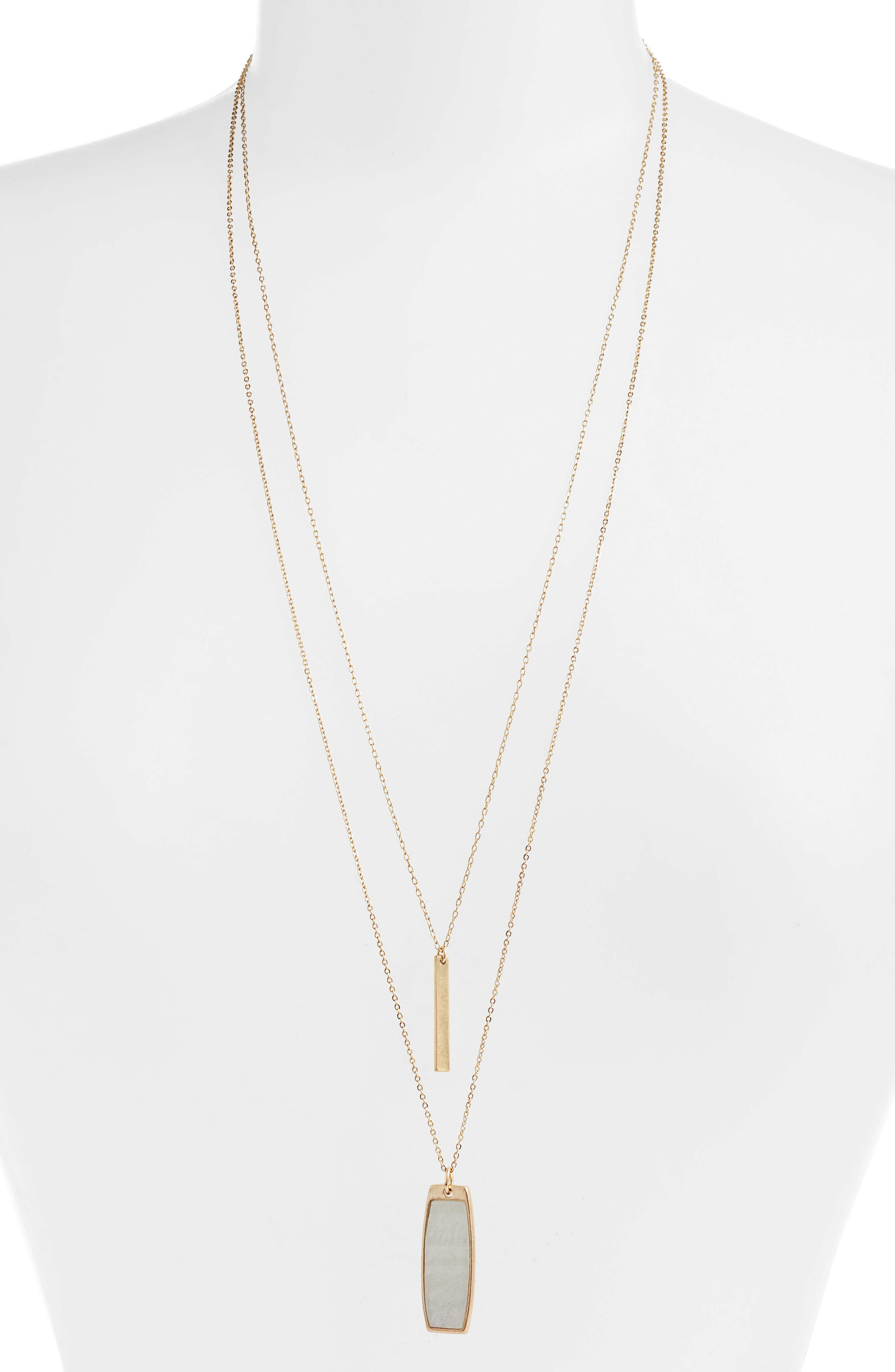 Long Layered Dog Tag Necklace,                         Main,                         color, White- Gold