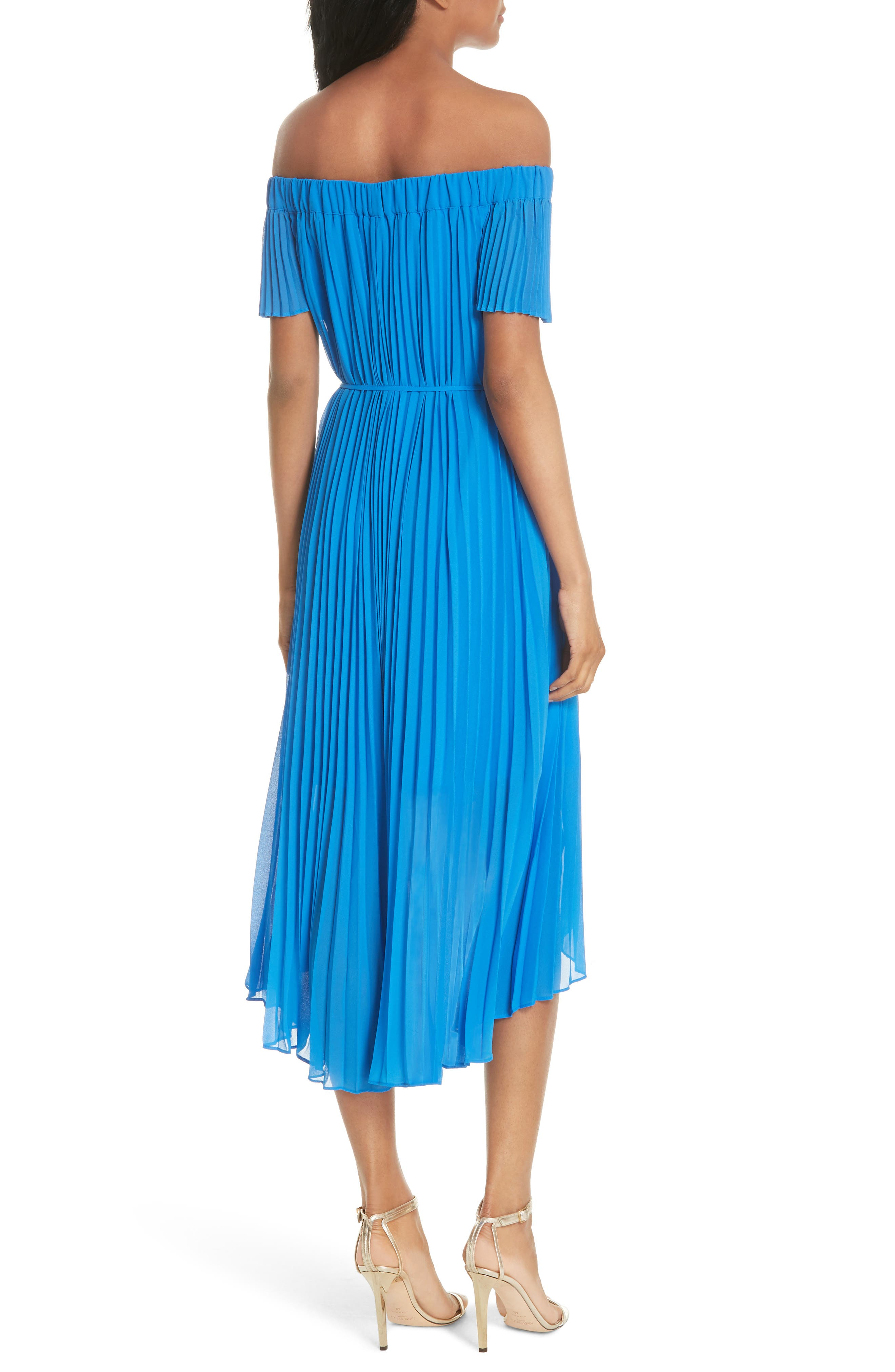 Harmony Pleat High/Low Dress,                             Alternate thumbnail 2, color,                             Bright Blue