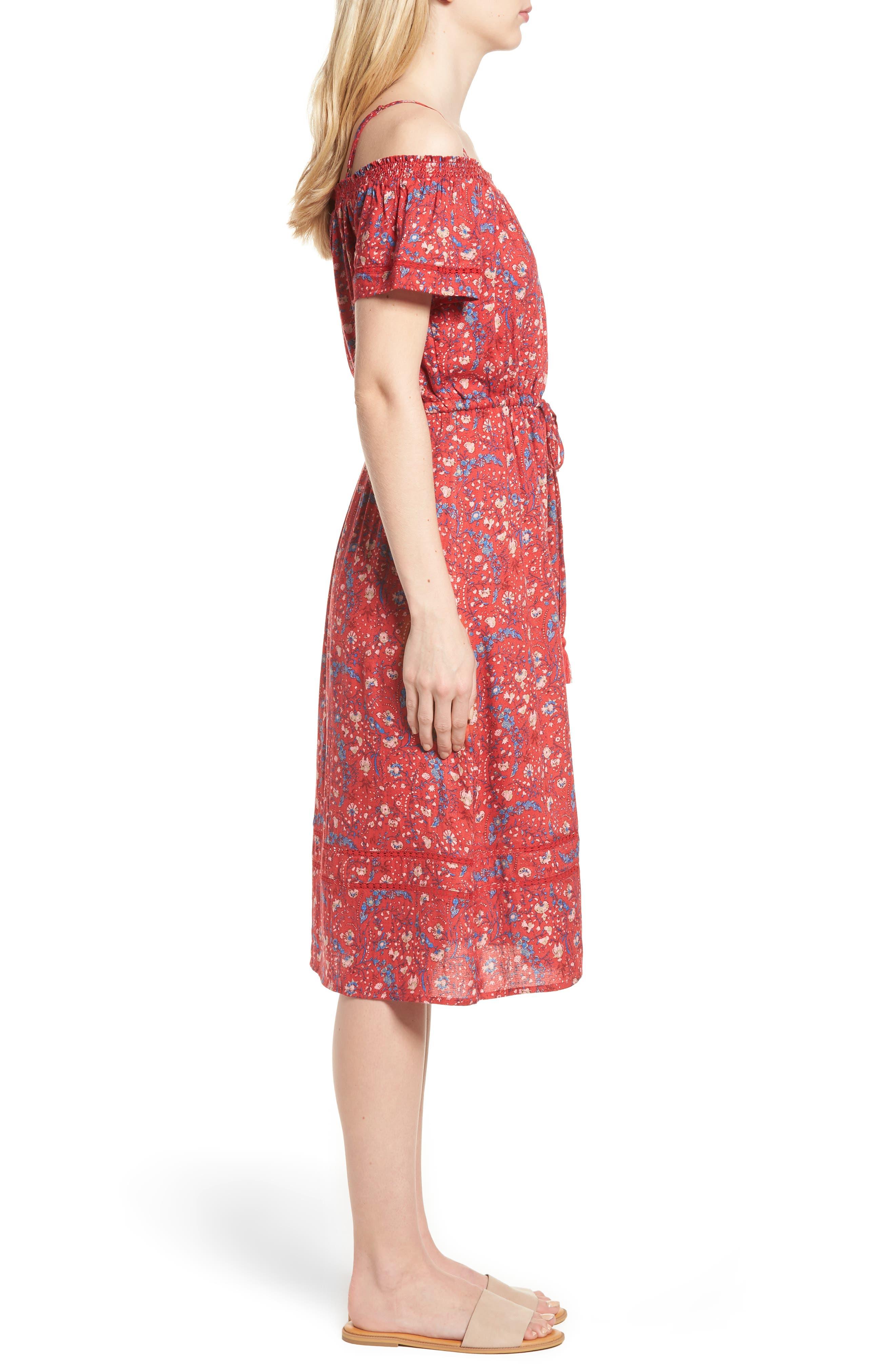 Off the Shoulder Floral Dress,                             Alternate thumbnail 3, color,                             Red Multi