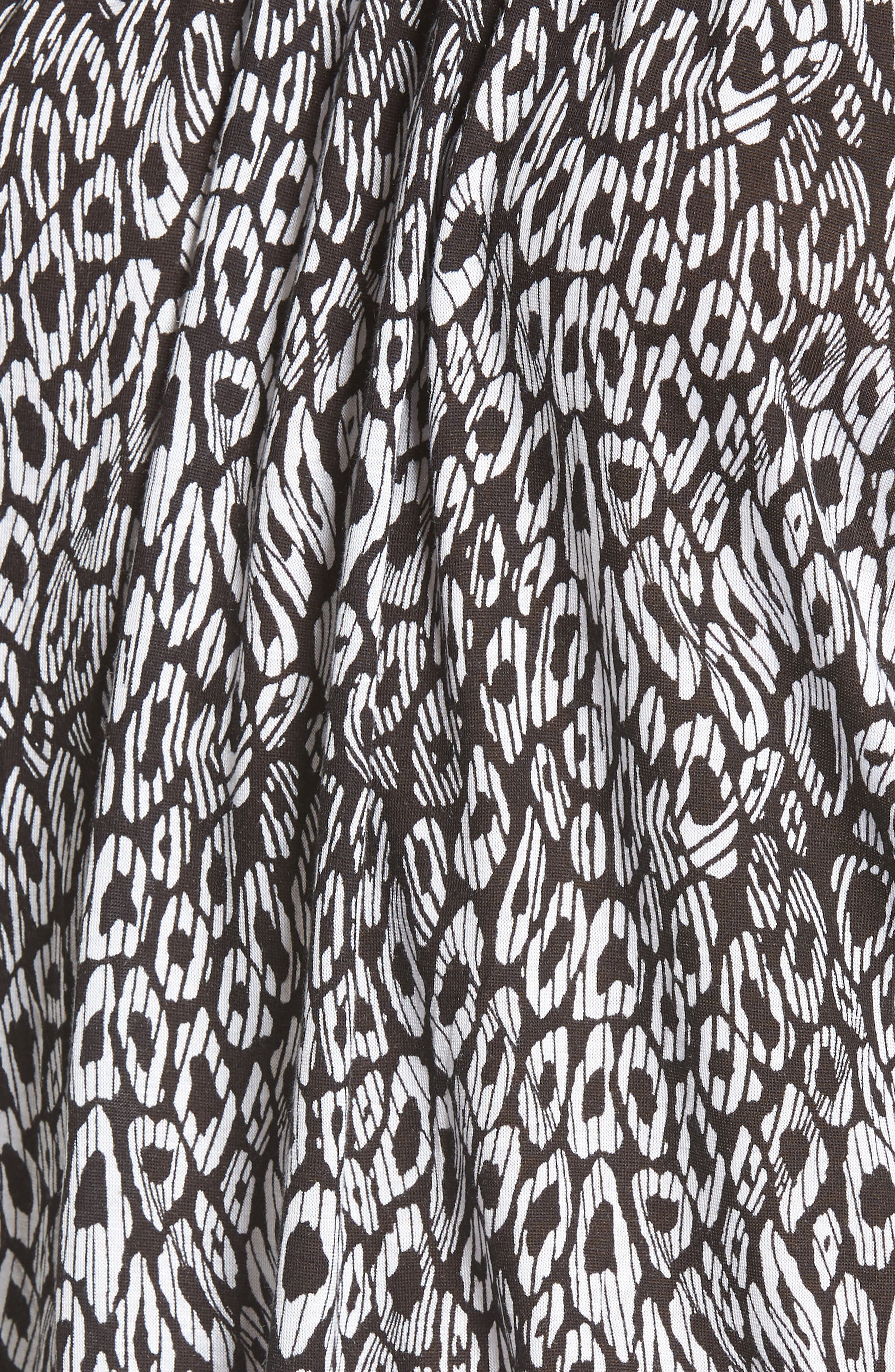 Wavy Leopard Stripe Peasant Top,                             Alternate thumbnail 6, color,                             Black/ White