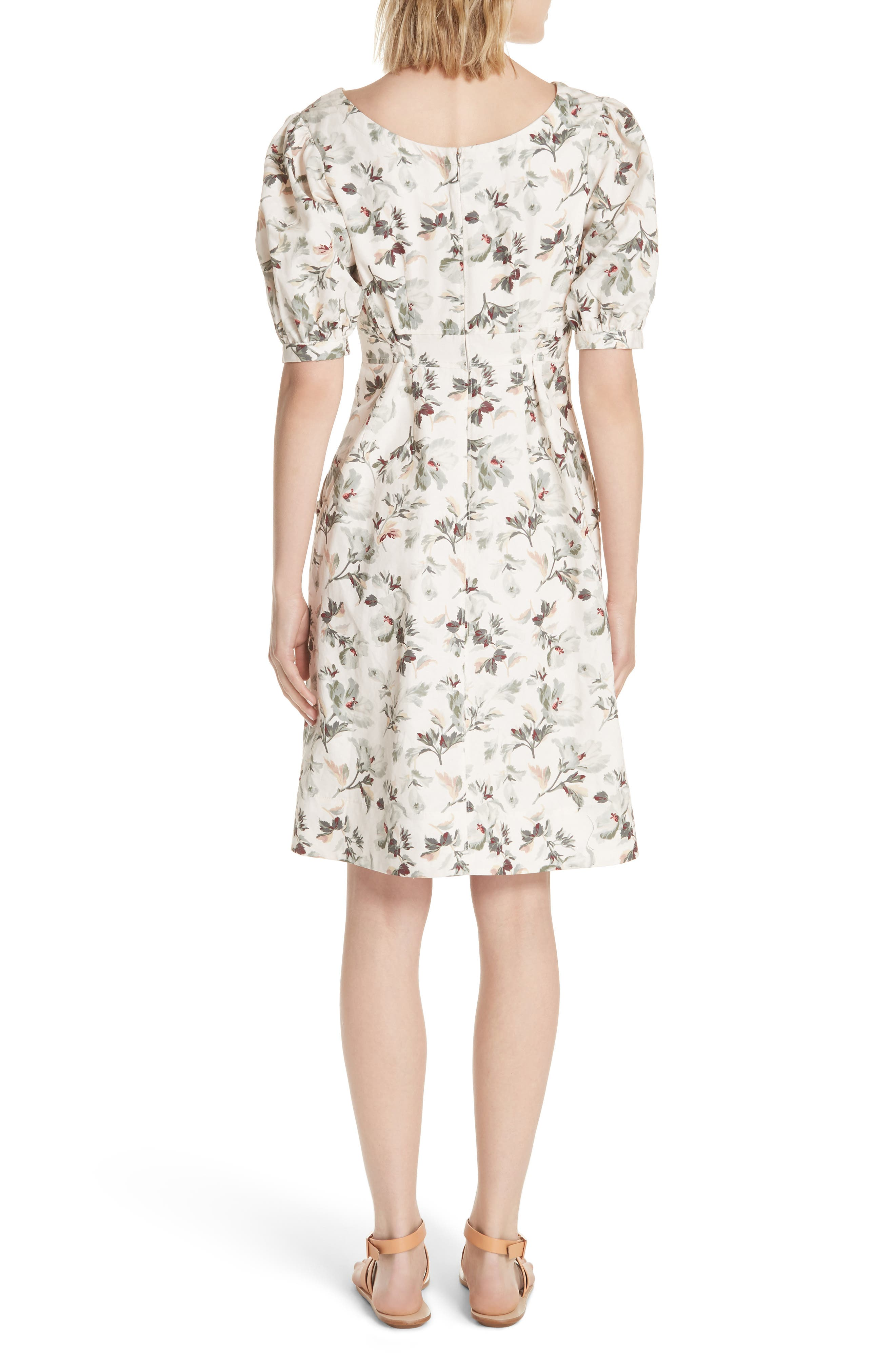 Puff Sleeve Floral Cotton Linen Dress,                             Alternate thumbnail 2, color,                             Vanilla Combo