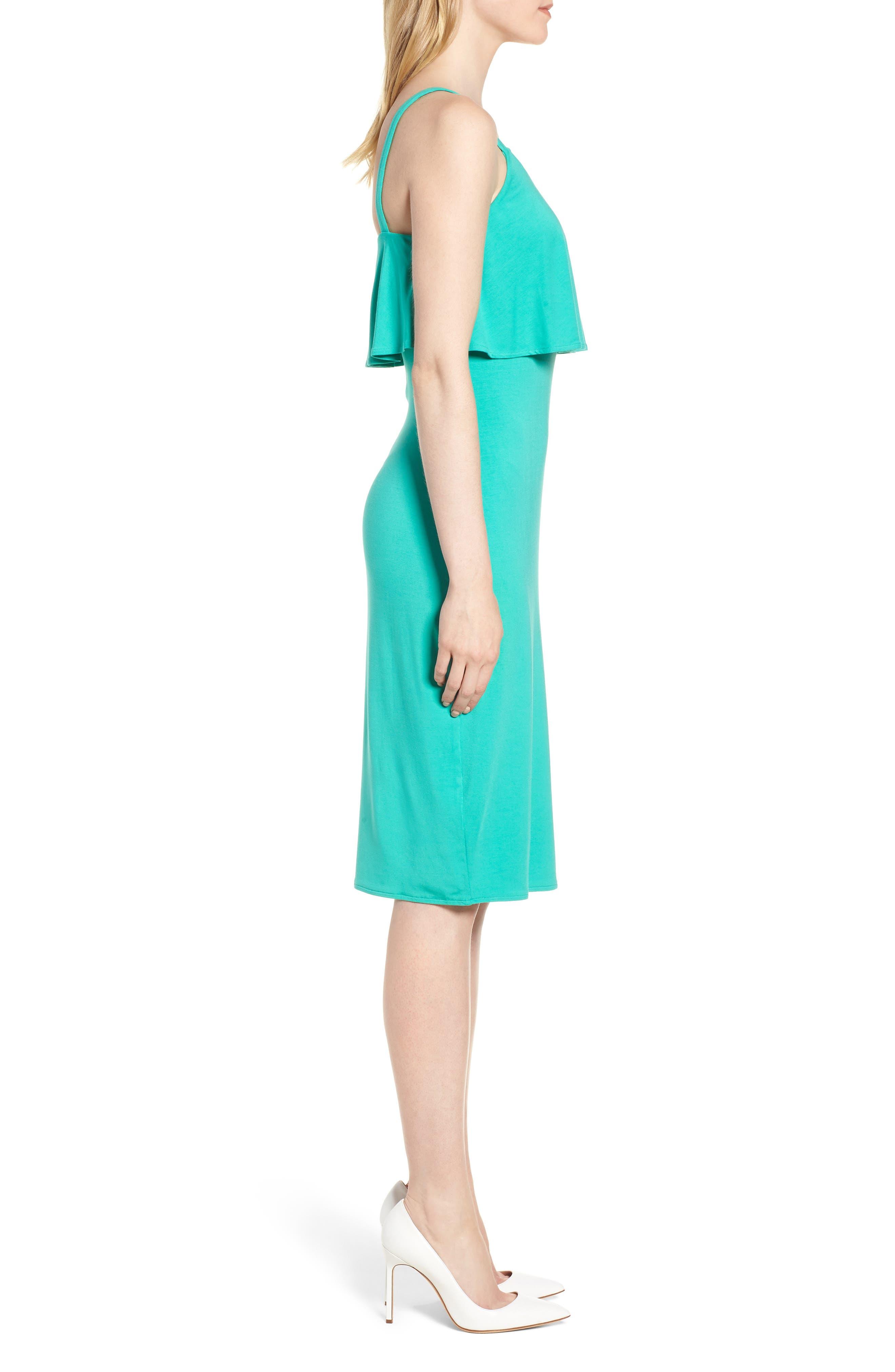 Flounce Front Dress,                             Alternate thumbnail 3, color,                             Aqua
