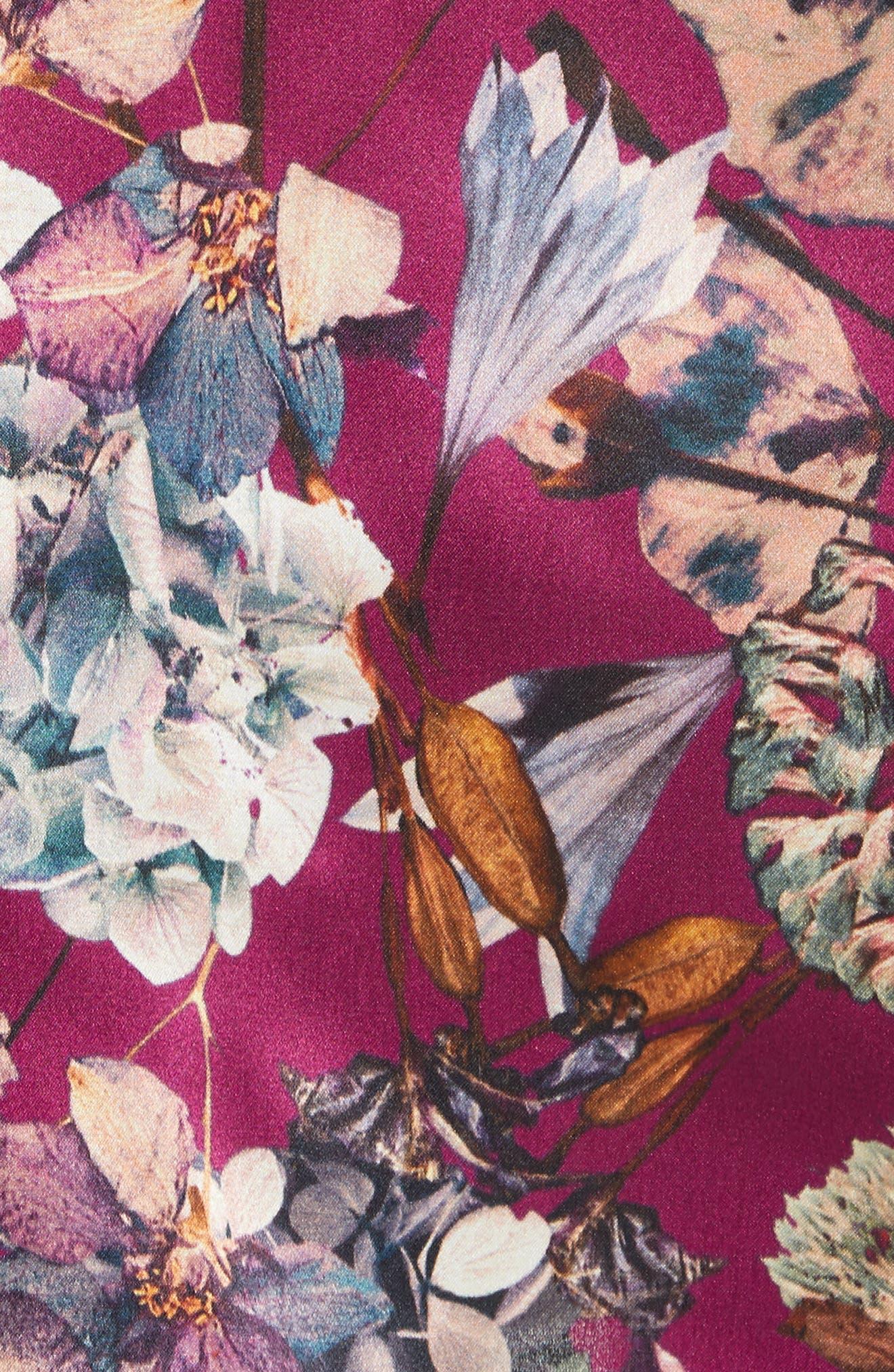 Floral Silk Blouse,                             Alternate thumbnail 6, color,                             Purple1