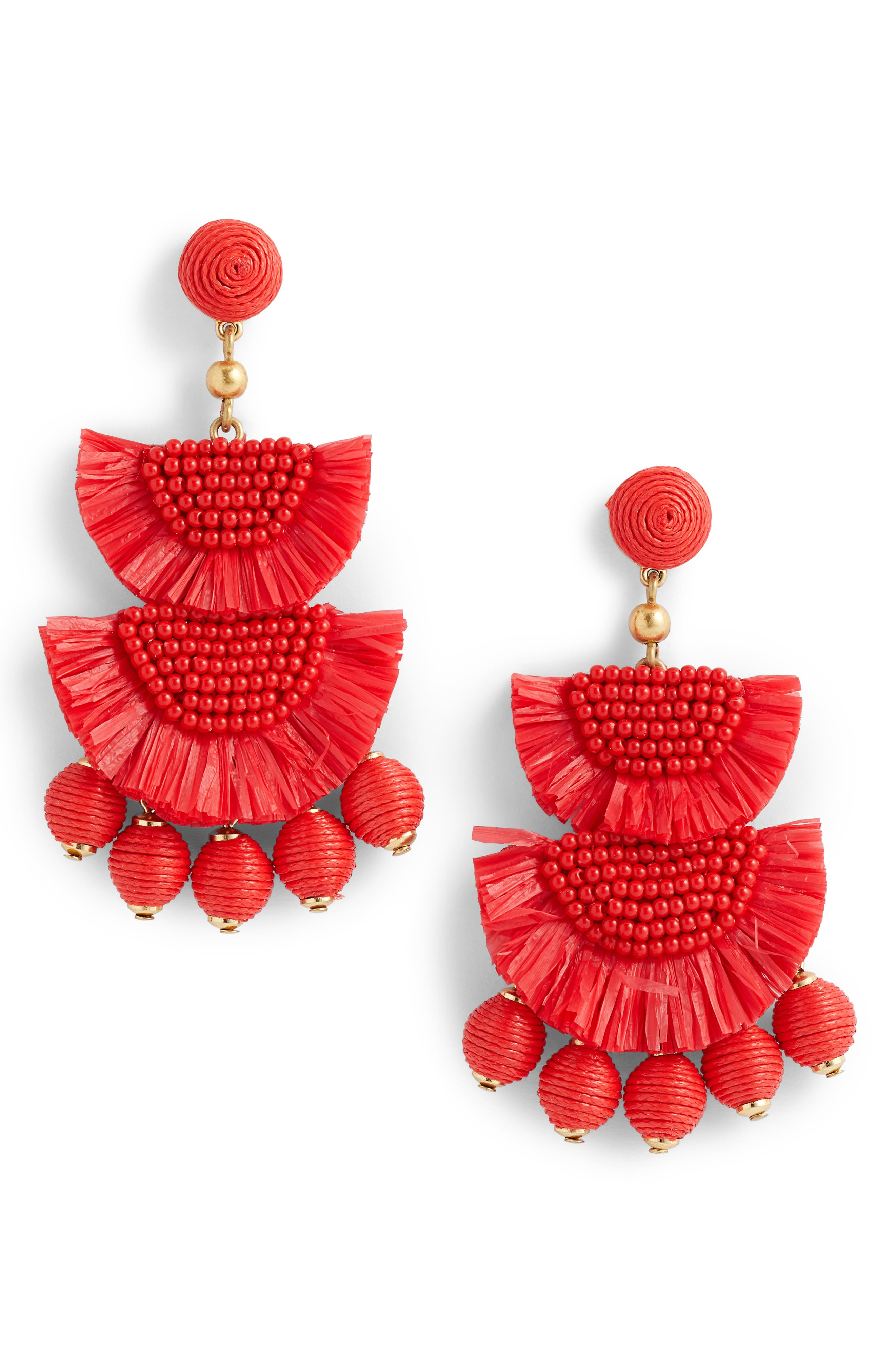 Bead & Raffia Earrings,                         Main,                         color, Cerise