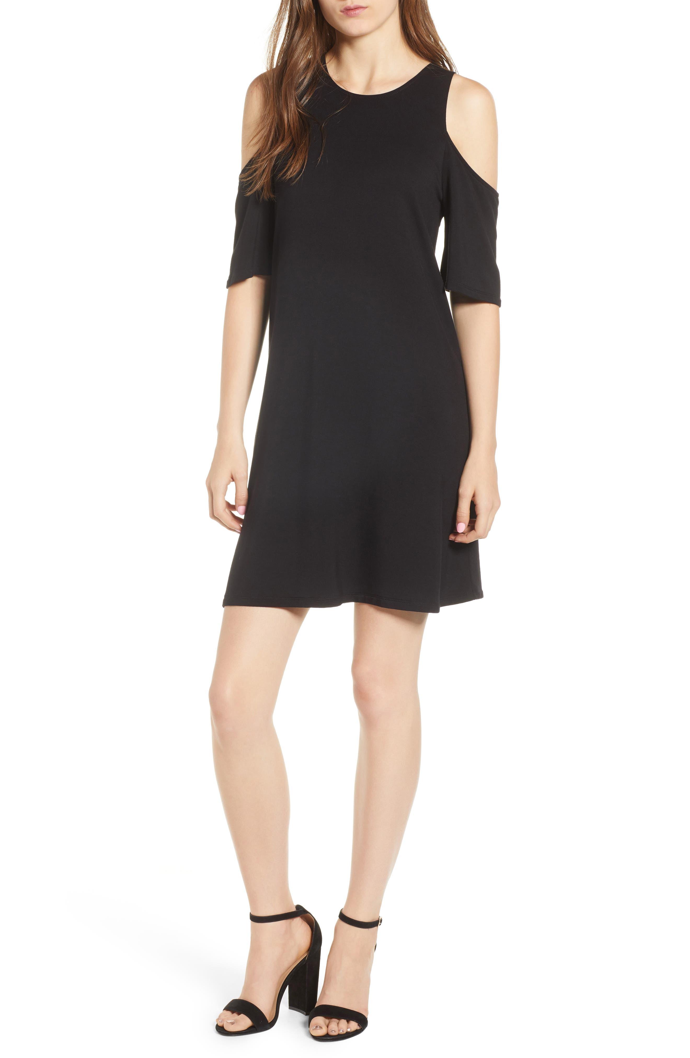 Hyde Cold Shoulder T-Shirt Dress,                             Main thumbnail 1, color,                             Black
