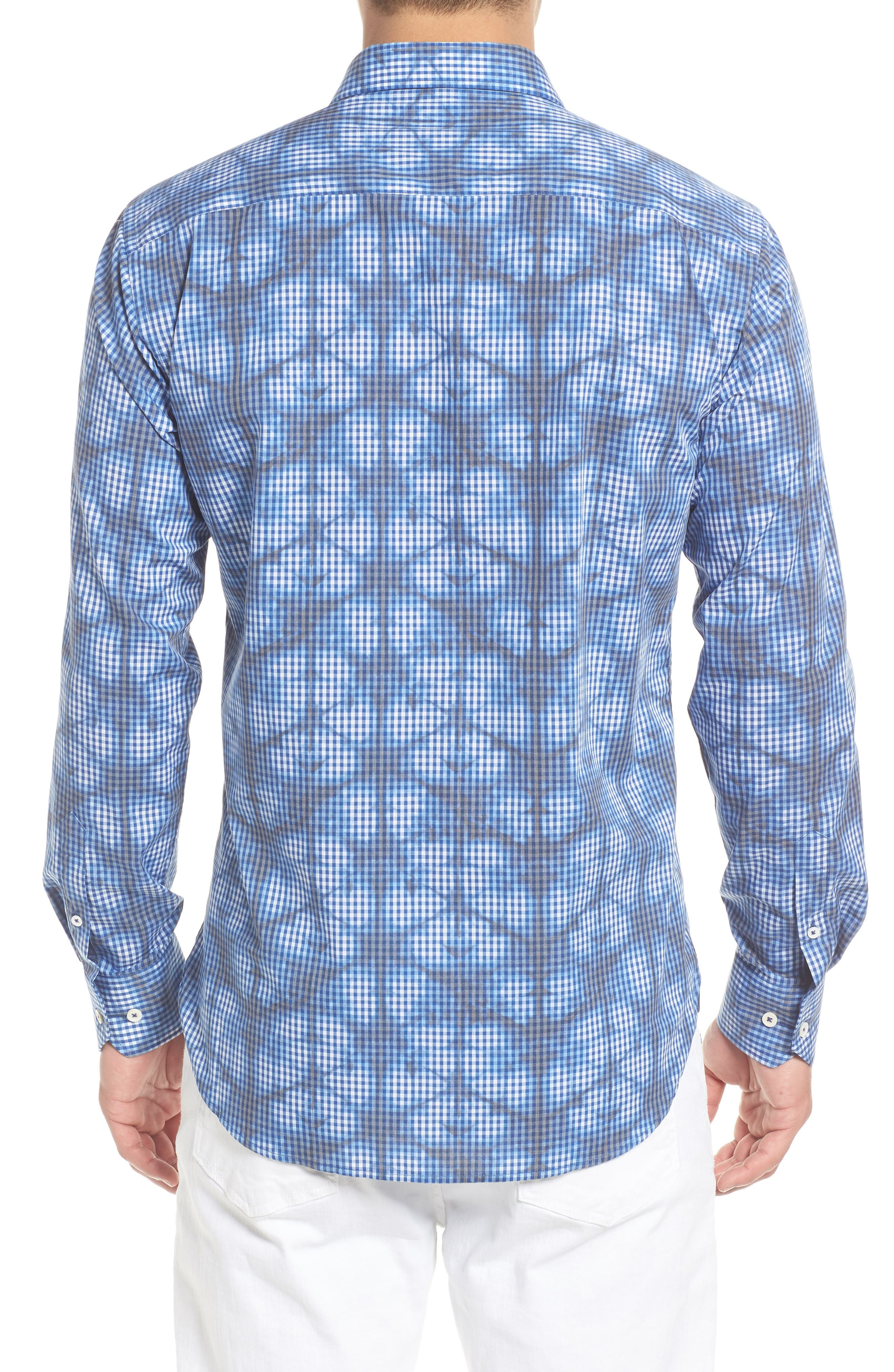 Shaped Fit Abstract Print Sport Shirt,                             Alternate thumbnail 3, color,                             Navy