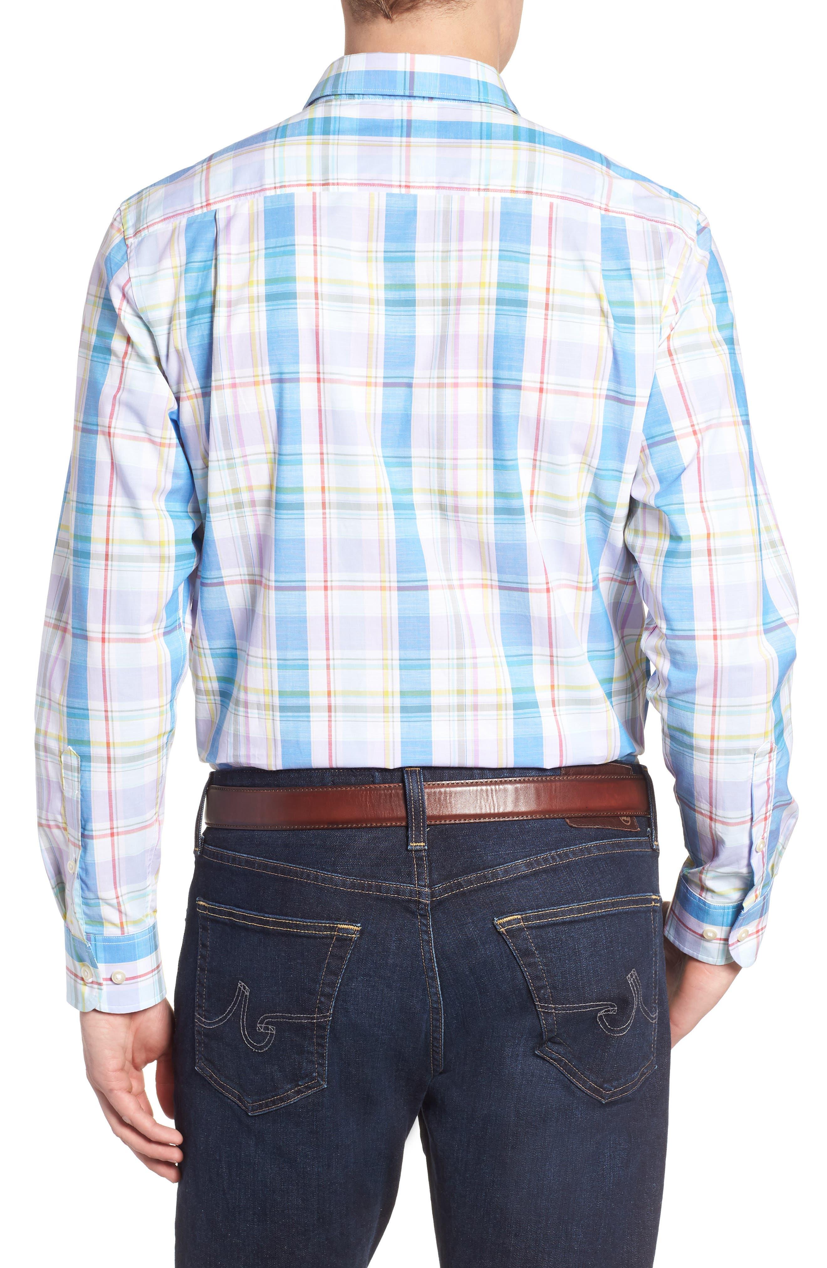 Privada Plaid Sport Shirt,                             Alternate thumbnail 3, color,                             Blue Aster