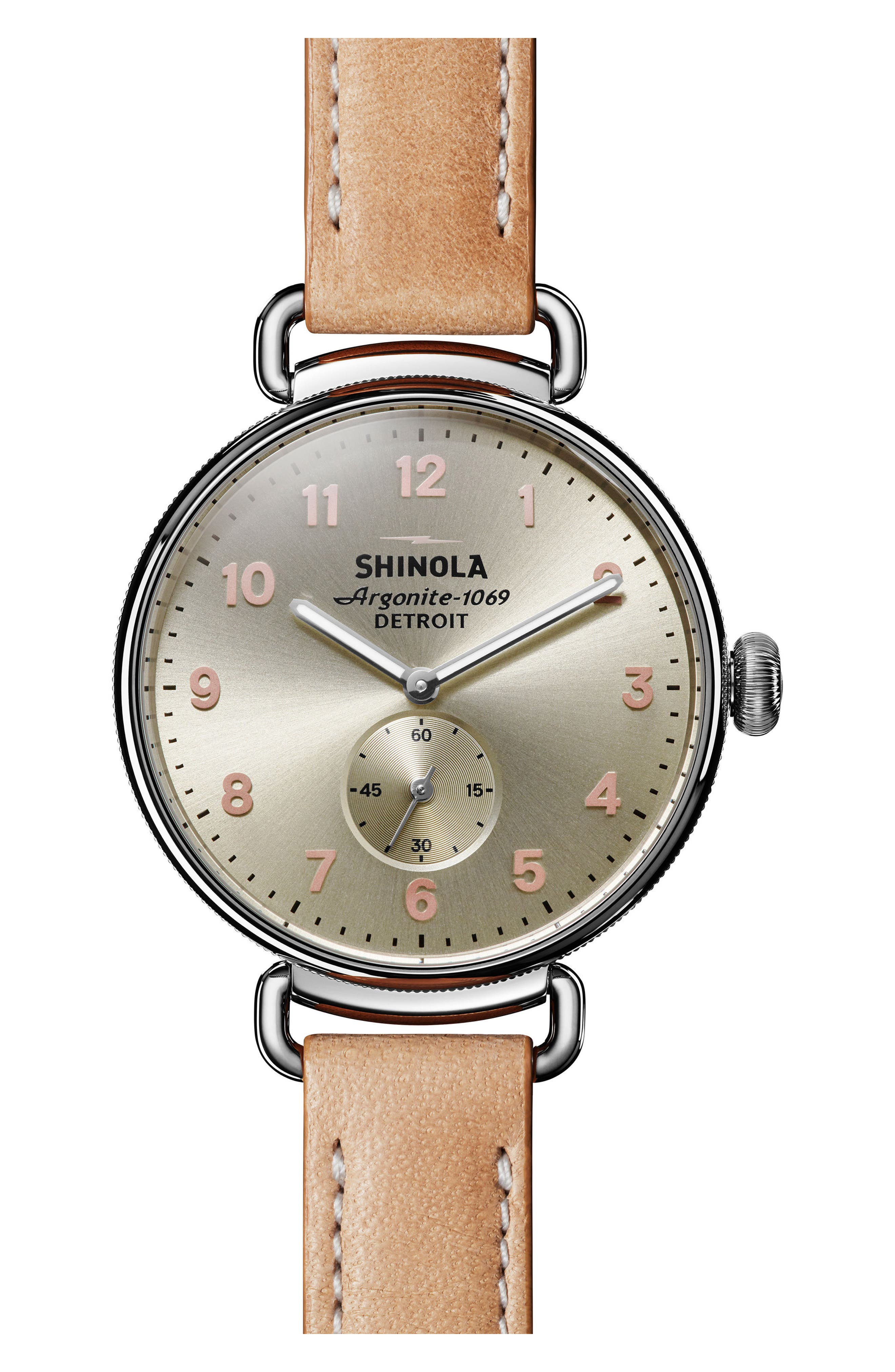 The Canfield Alligator Strap Watch, 38mm,                         Main,                         color, Natural/ Metallic/ Silver