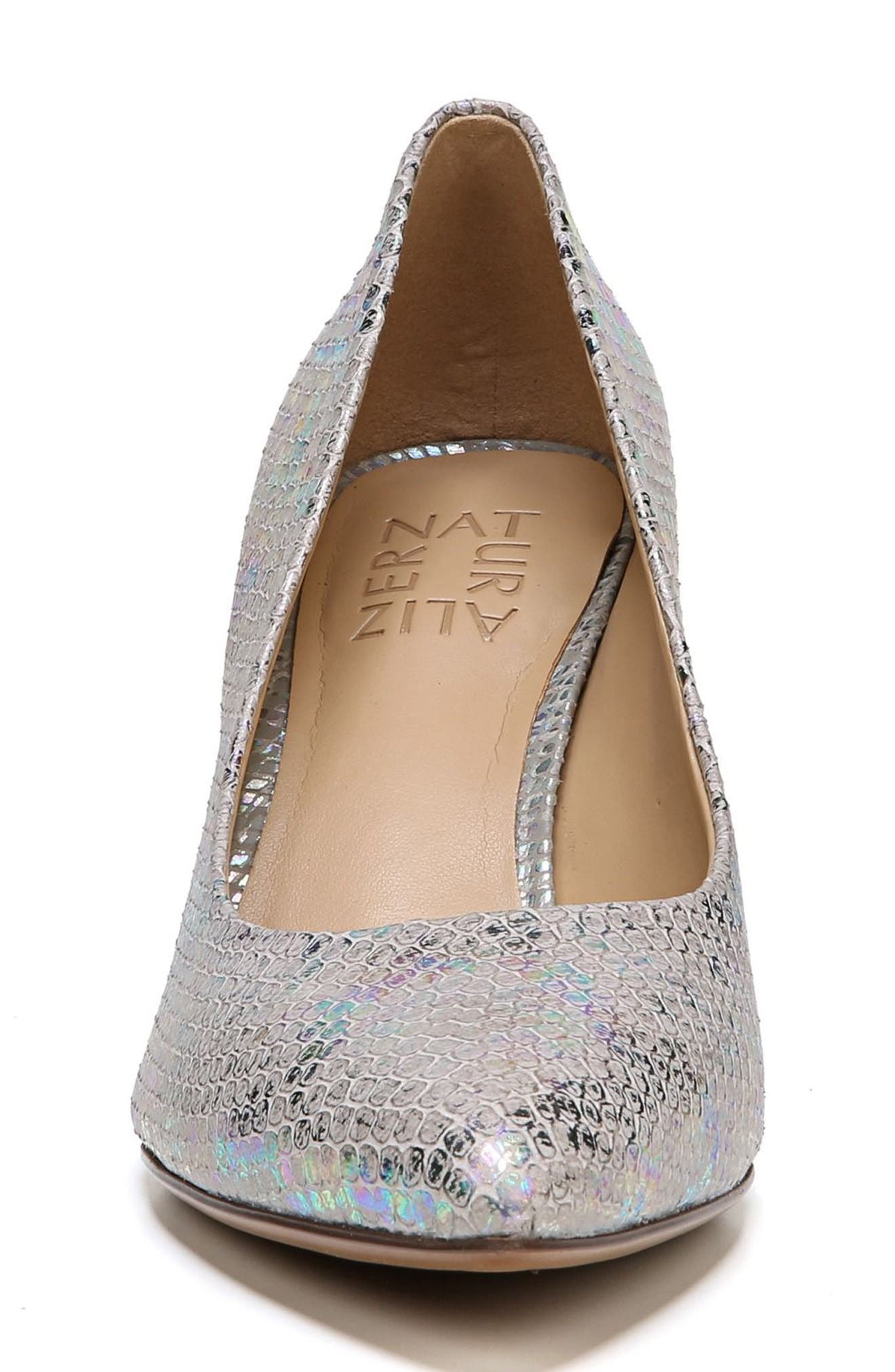 Natalie Pointy Toe Pump,                             Alternate thumbnail 4, color,                             Silver Snake Print Leather