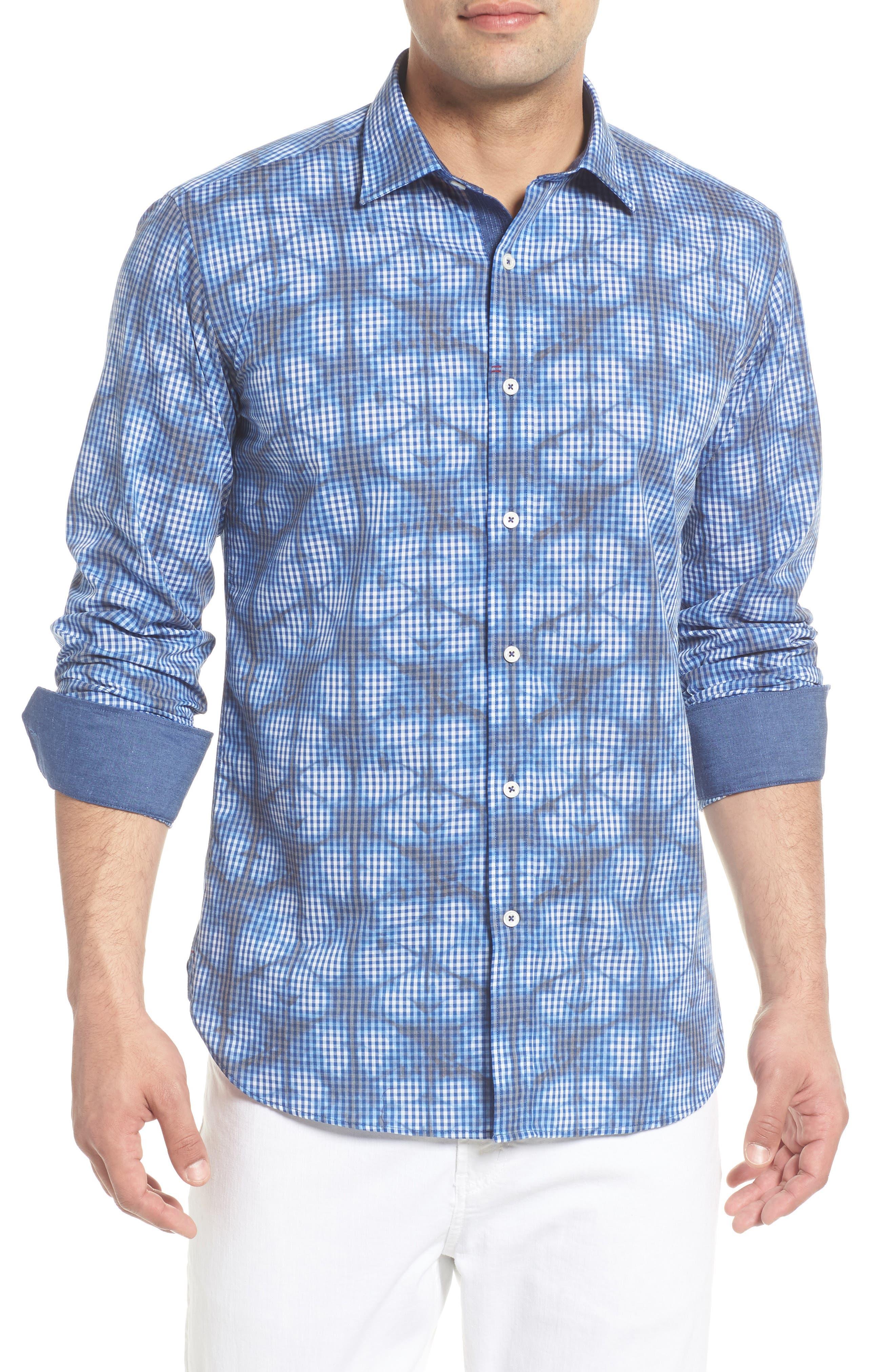 Shaped Fit Abstract Print Sport Shirt,                             Main thumbnail 1, color,                             Navy