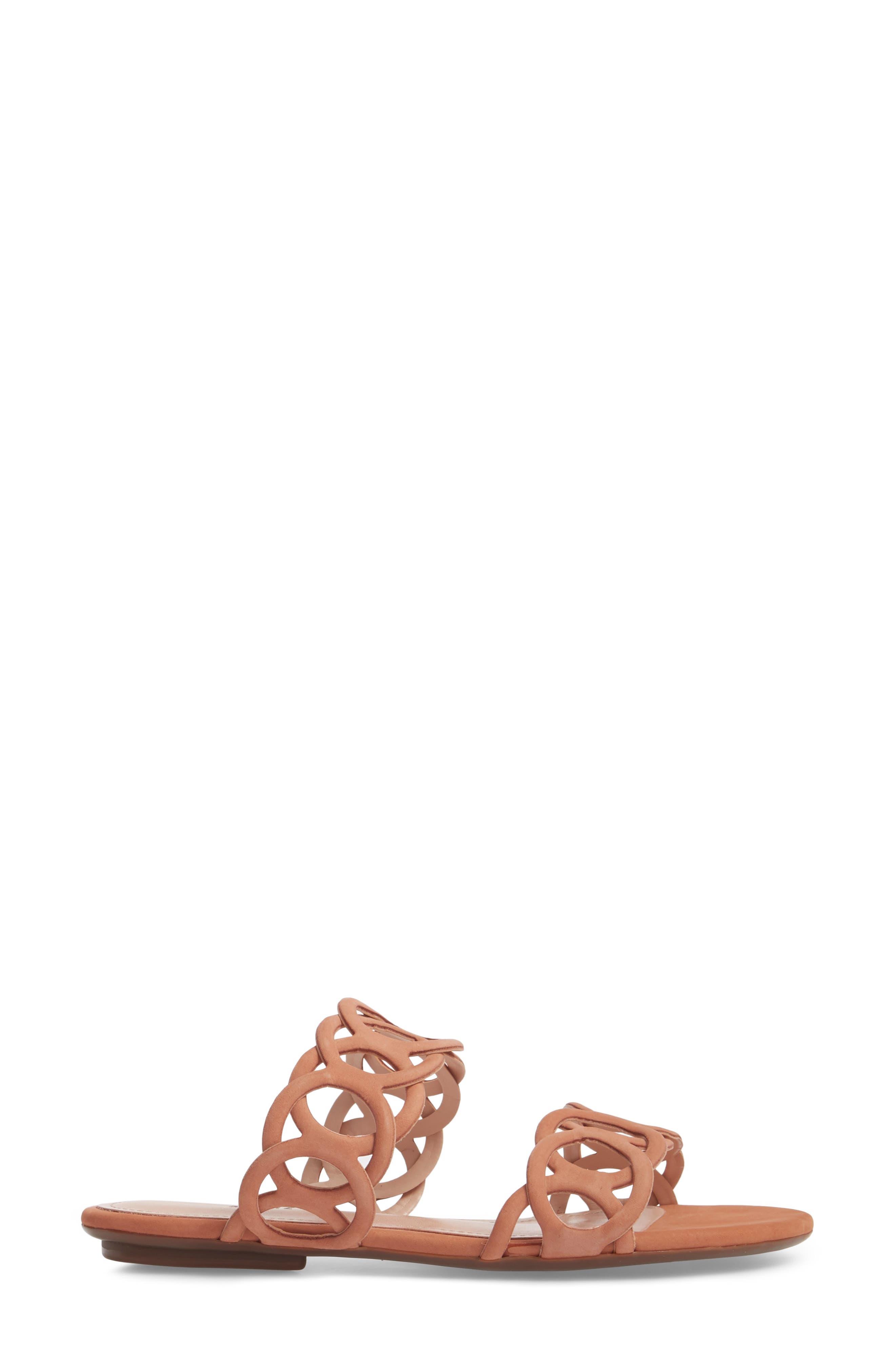 Yaslin Slide Sandal,                             Alternate thumbnail 3, color,                             Toasted Nut Leather