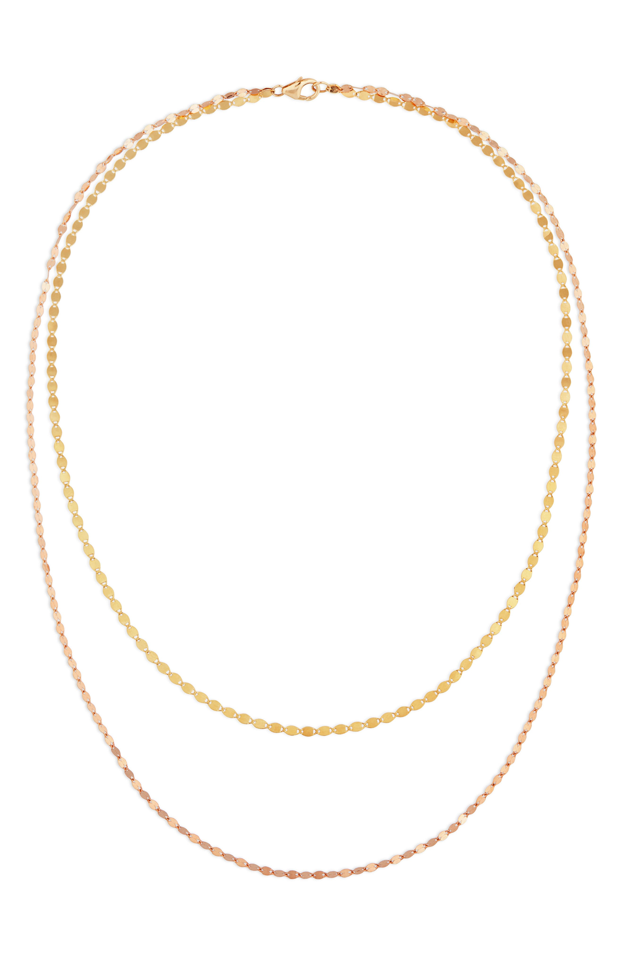 LANA Blake Double Layer Chain Necklace in Yellow Gold/ Rose Gold