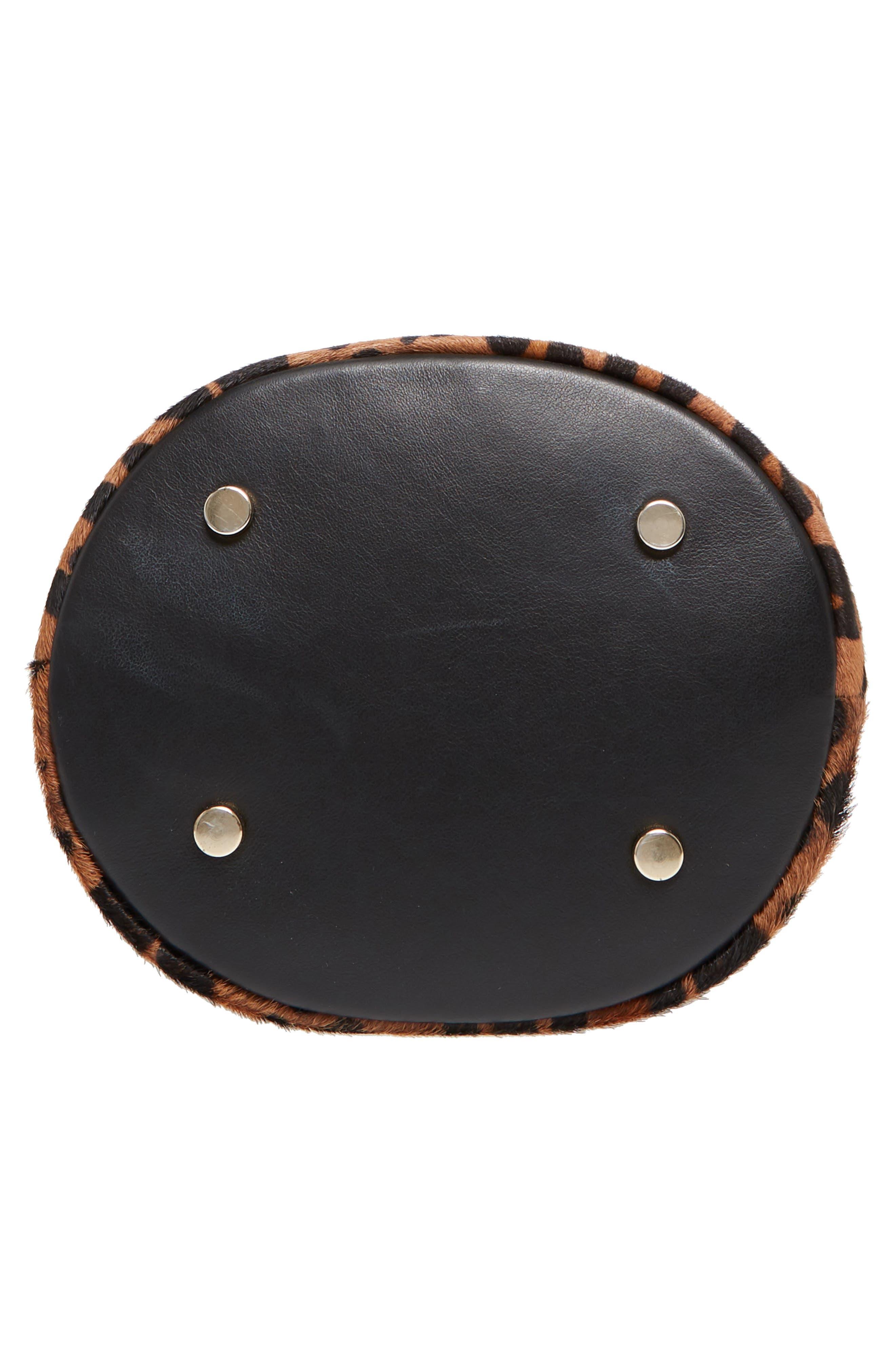 Hope Genuine Calf Hair Bucket Bag,                             Alternate thumbnail 6, color,                             Leaopard/ Maroquinerie