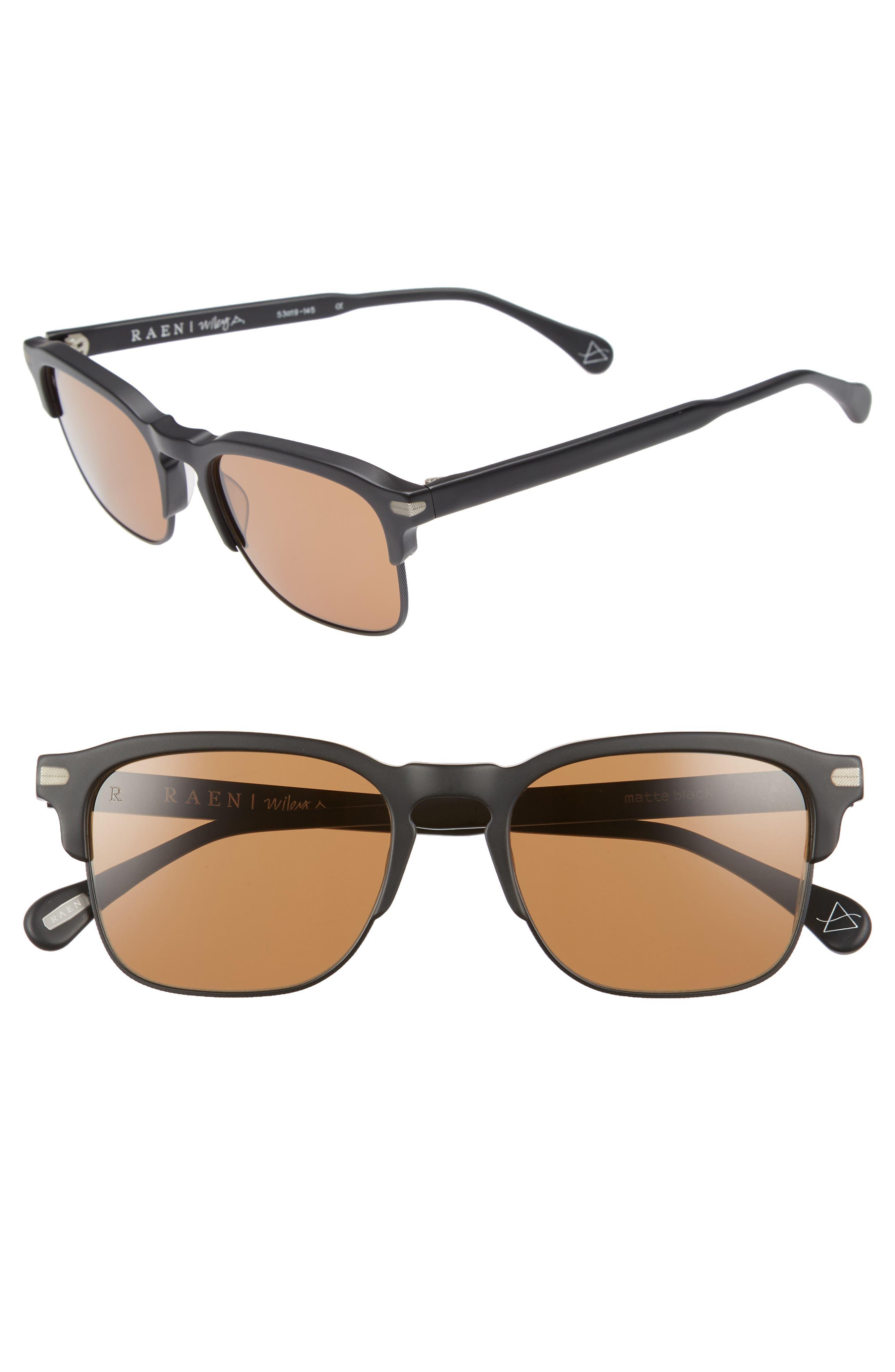 Wiley A 53mm Sunglasses,                             Main thumbnail 1, color,                             Matte Black