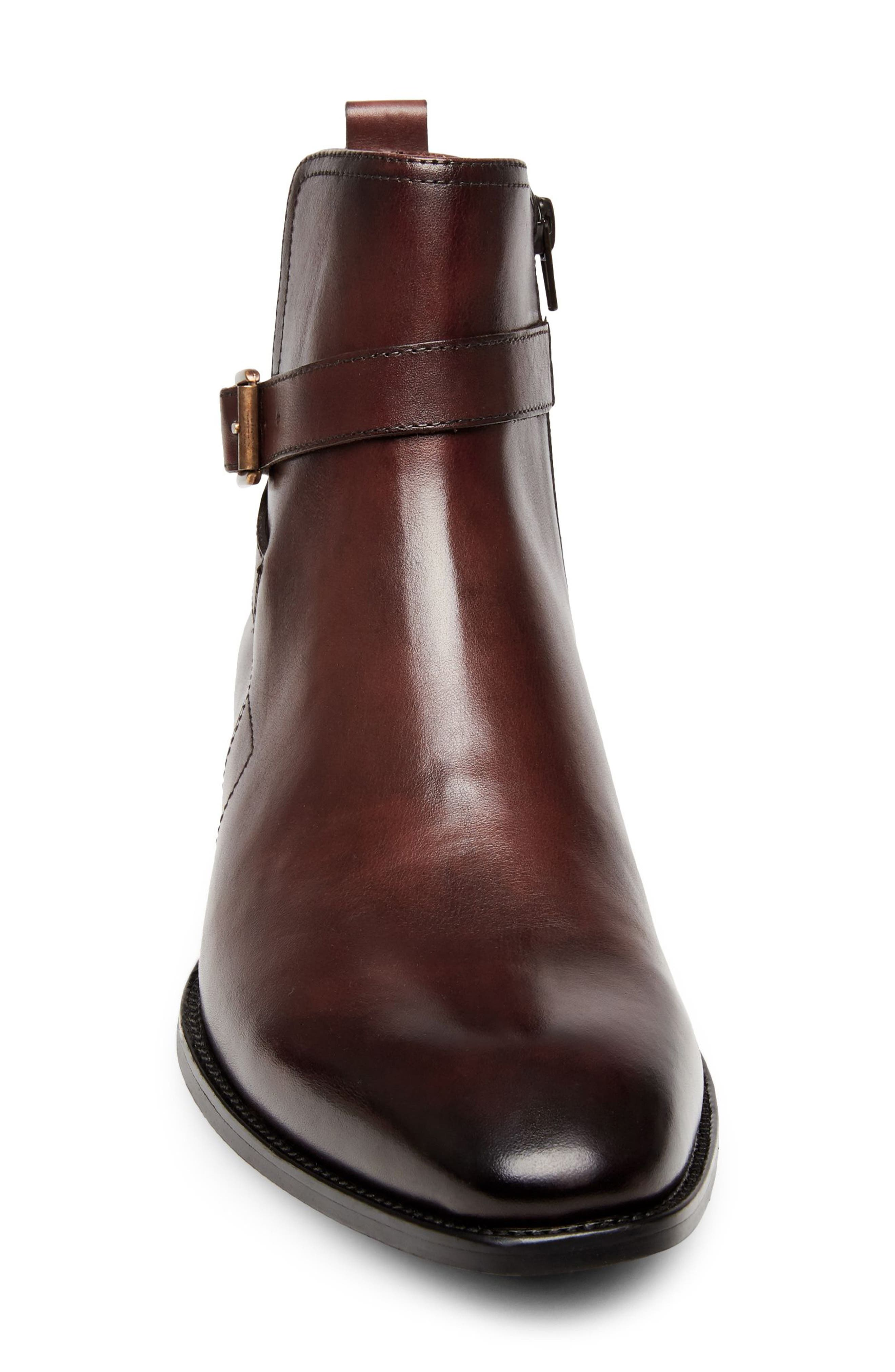 Sacha Buckle Strap Boot,                             Alternate thumbnail 4, color,                             Brown Leather