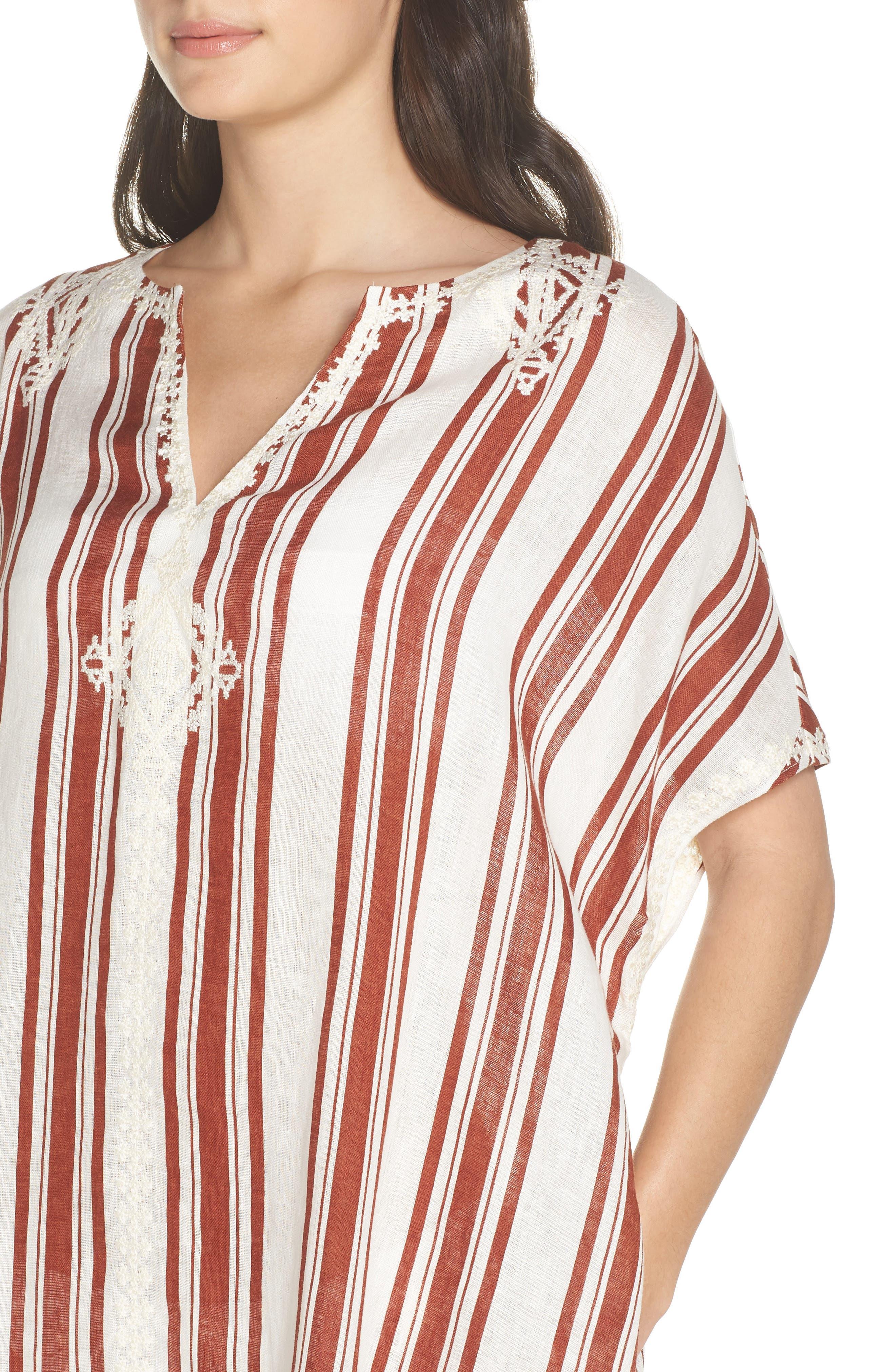 Alcott Beach Linen Cover-Up Caftan,                             Alternate thumbnail 4, color,                             New Ivory / Desert Stripe