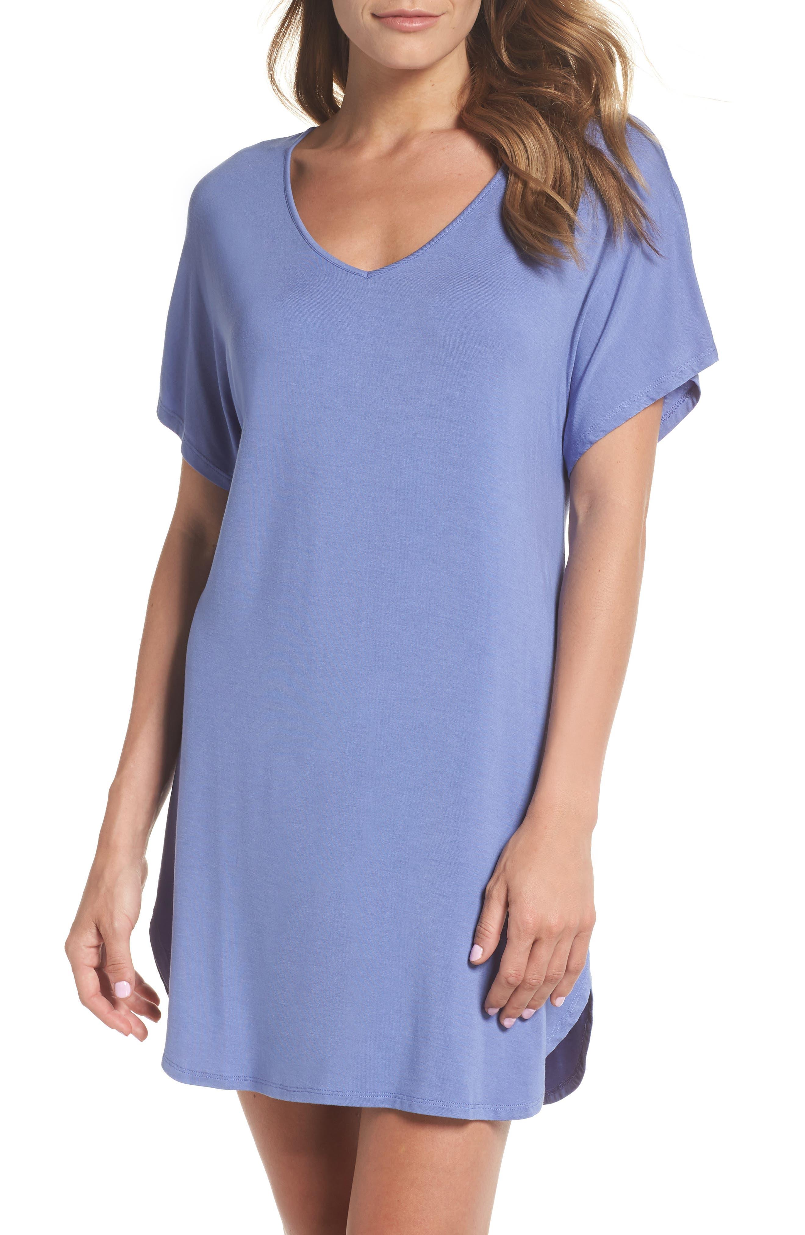 Dolman Sleeve Nightshirt,                         Main,                         color, Blue Denim