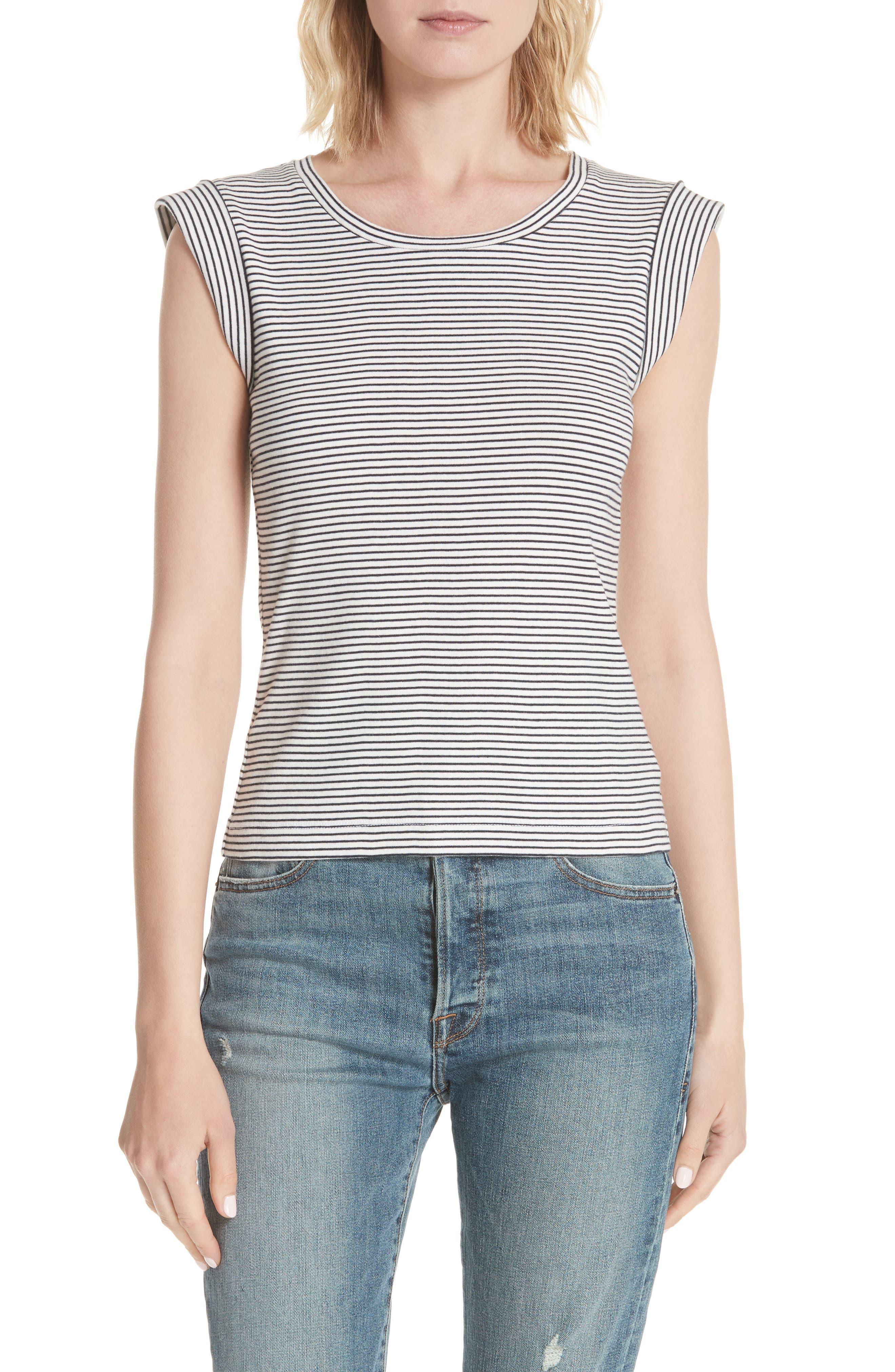 La Vie Rebecca Taylor Stripe Sleeveless Cotton Top