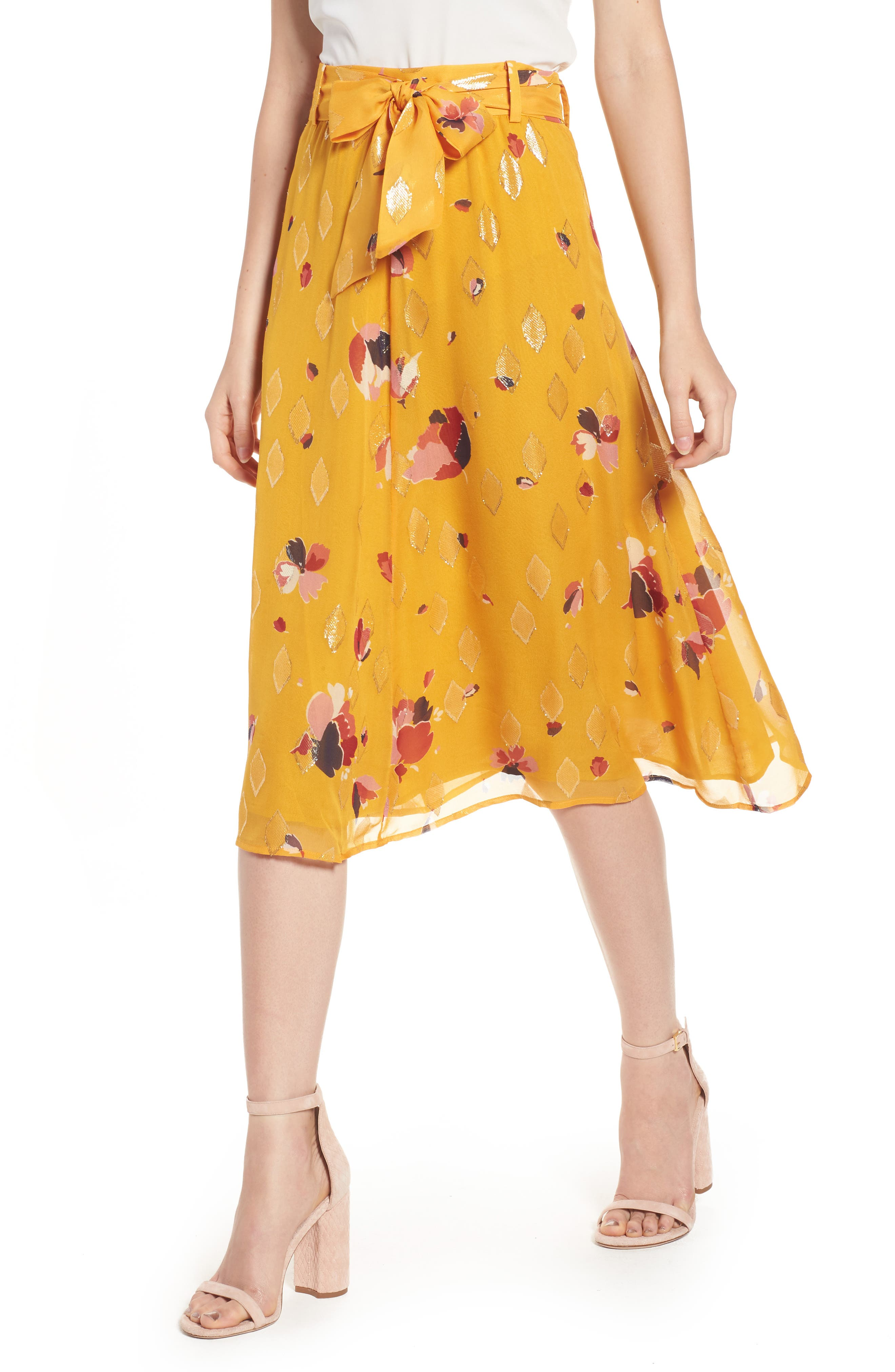 Arizona Floral & Metallic Silk Blend Skirt,                             Main thumbnail 1, color,                             Big Flowers 60S On Saffron