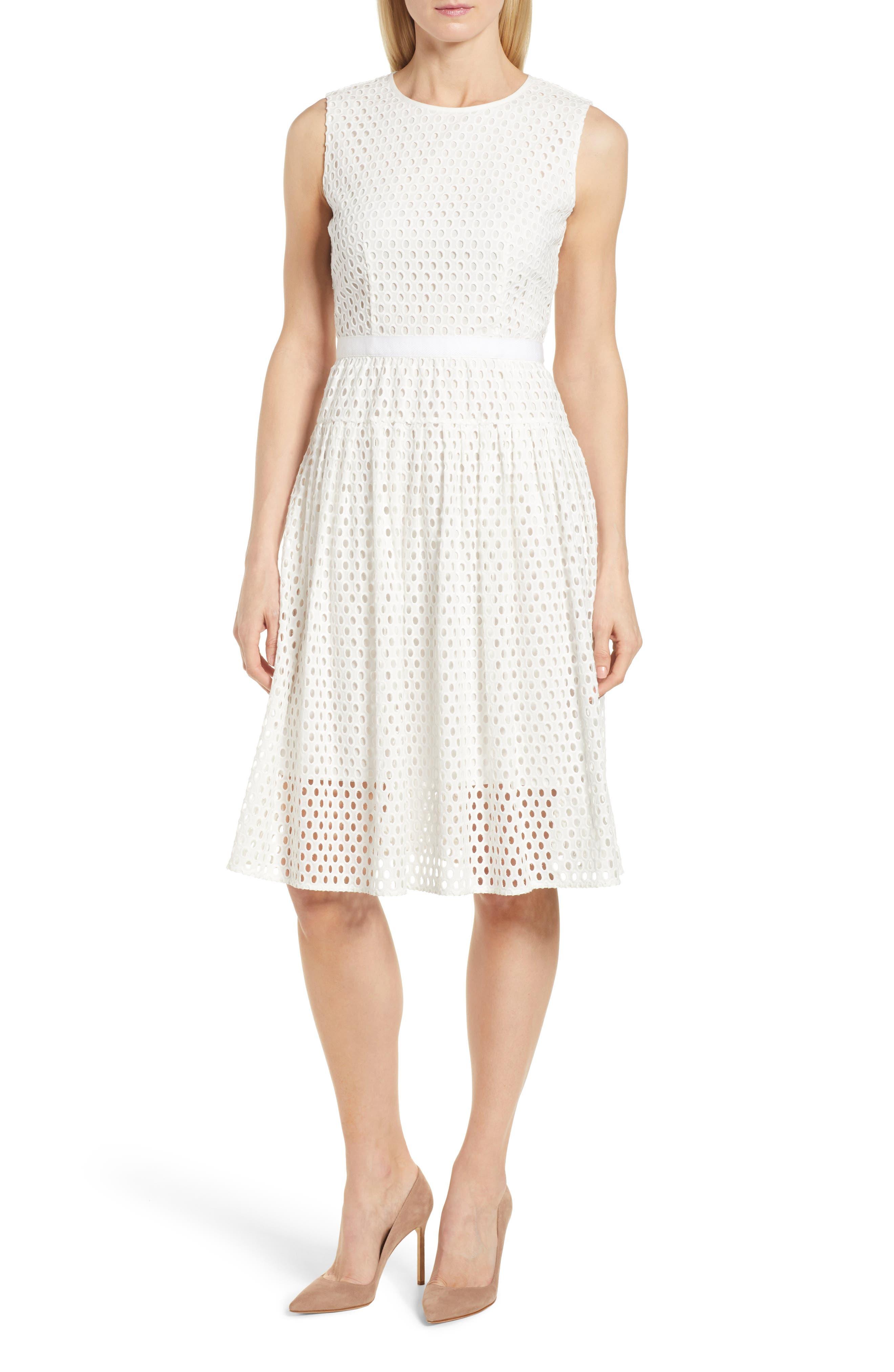 Dafalia Cotton Eyelet Dress,                             Main thumbnail 1, color,                             Vanilla Light