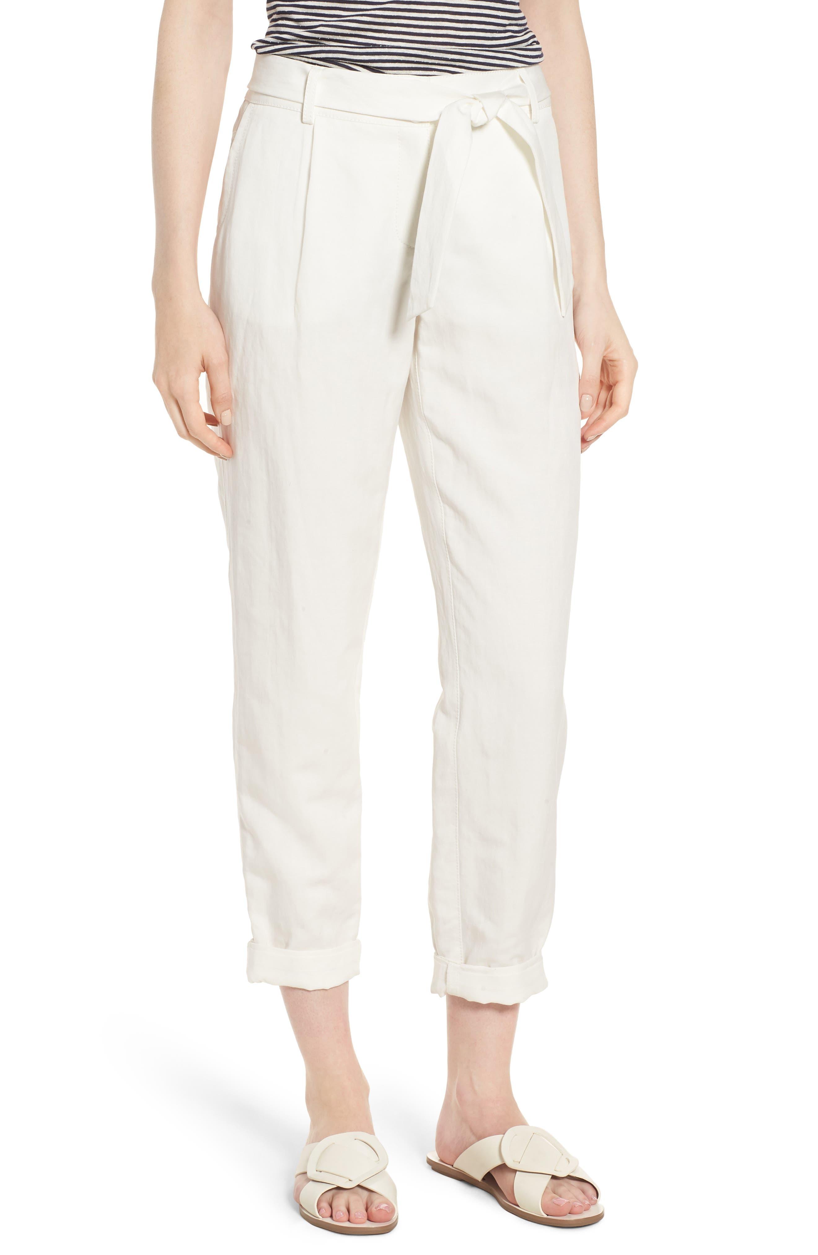 Nordstrom Signature Linen Blend Tie Waist Pants