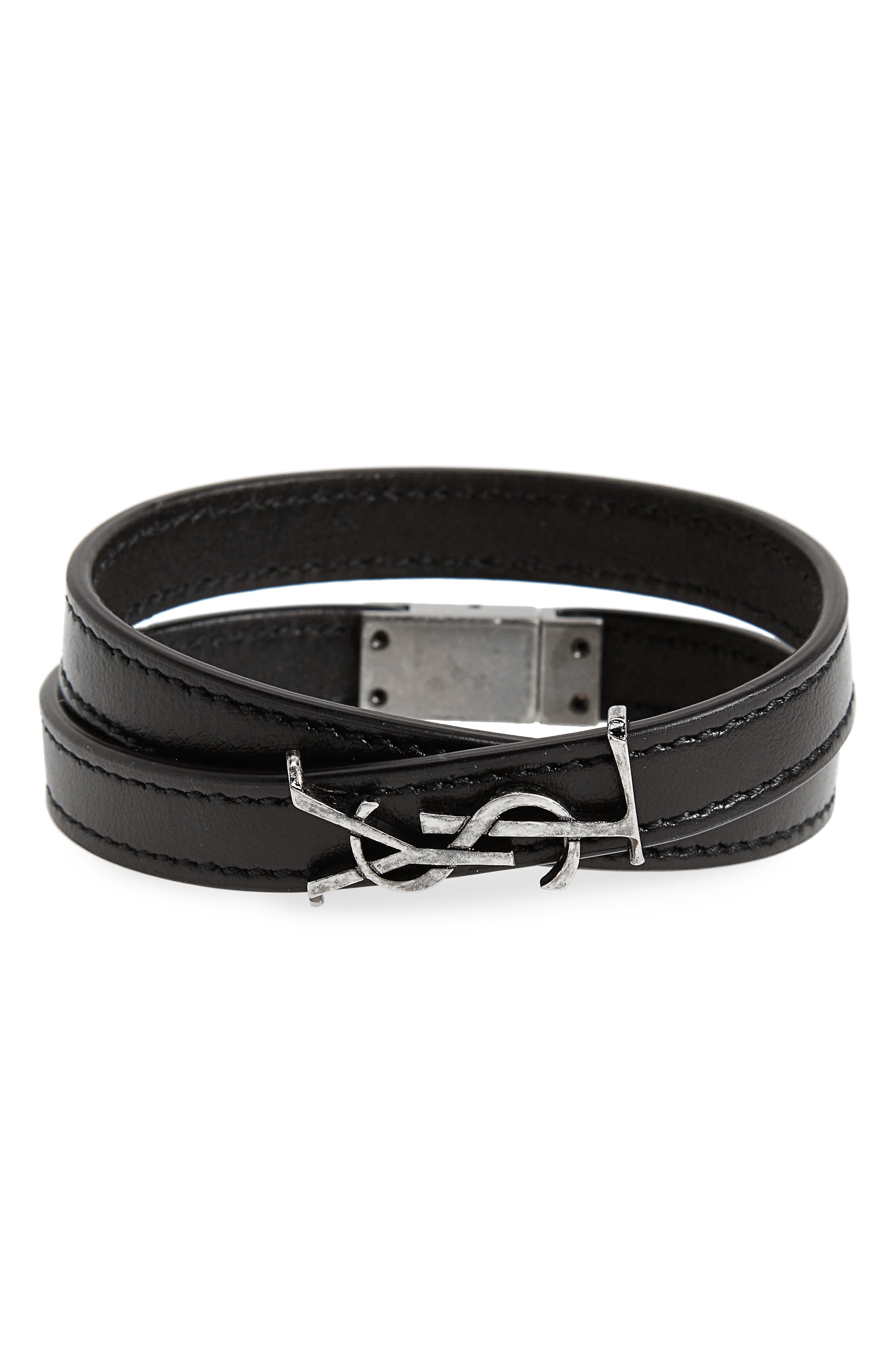 YSL Leather Bracelet,                         Main,                         color, Nero