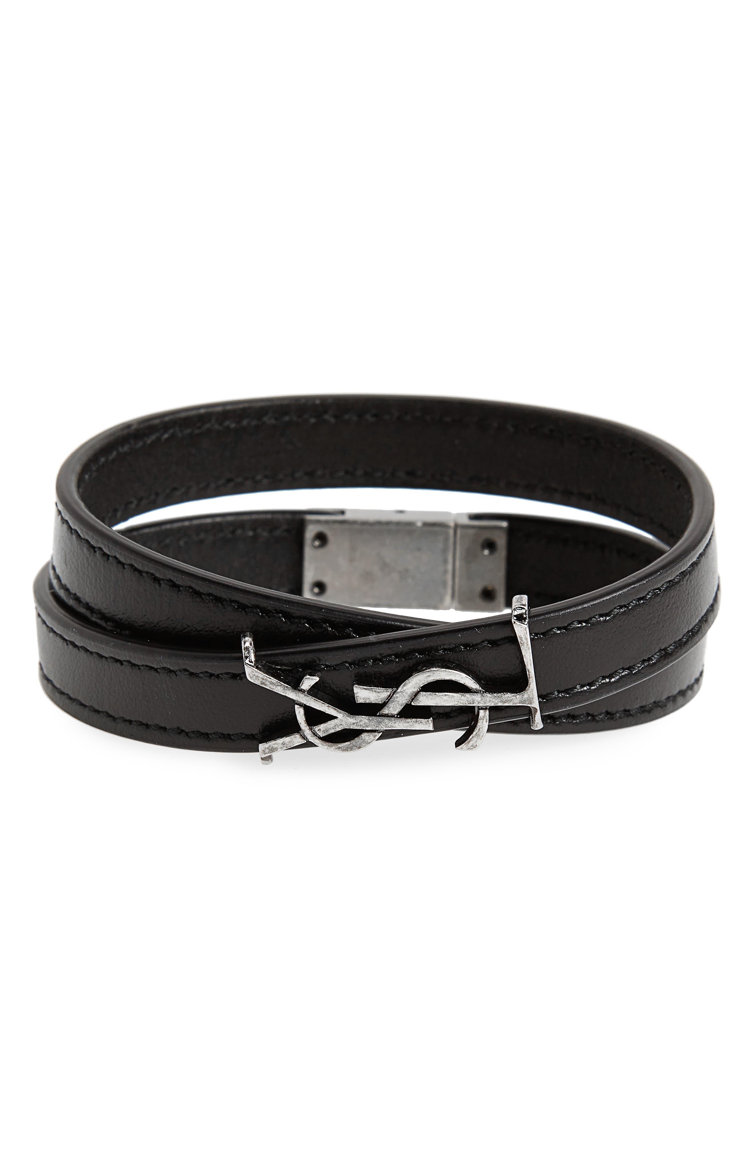 YSL Leather Bracelet,                         Main,                         color, Nero