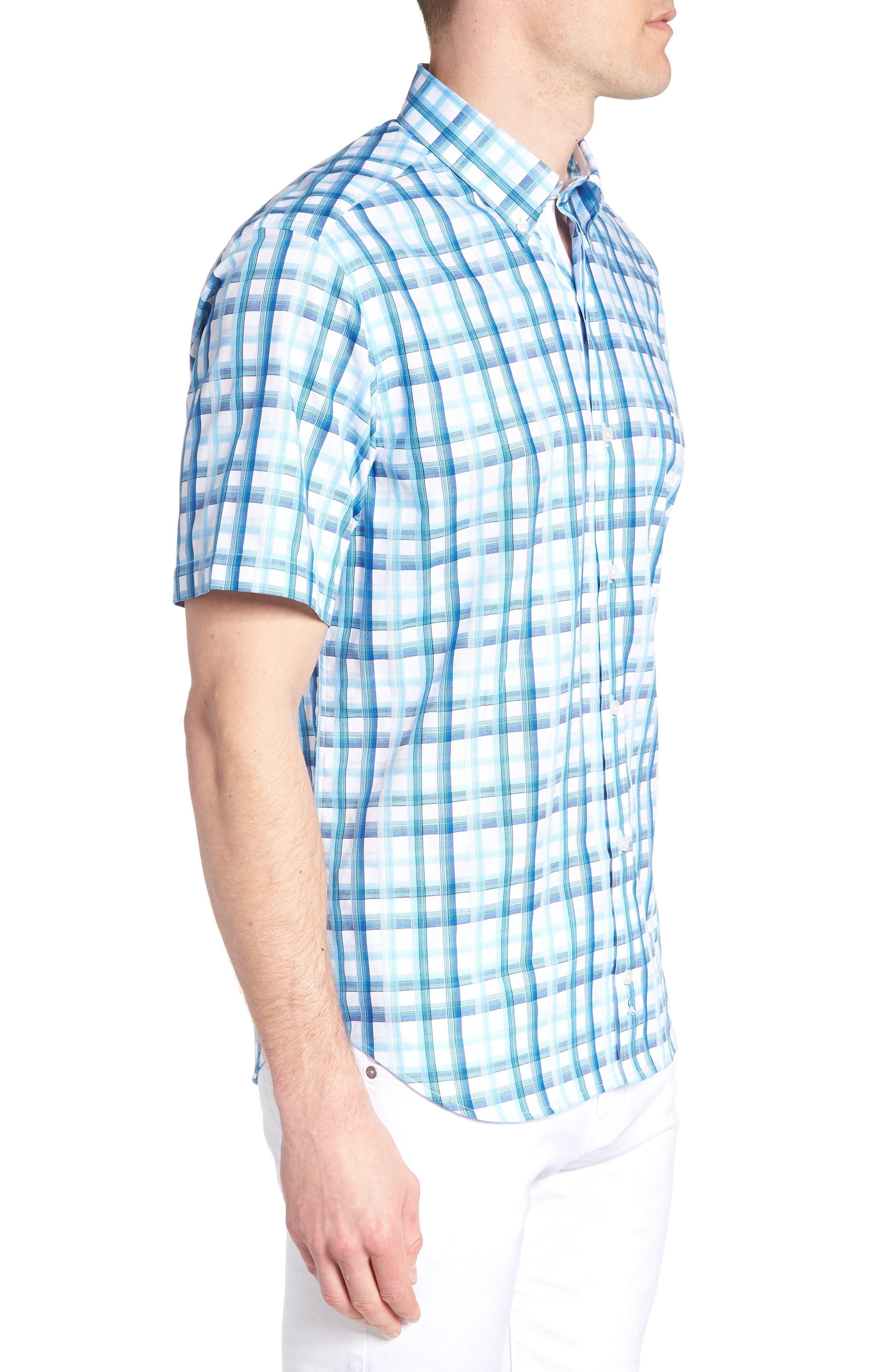 Larkin Regular Fit Plaid Sport Shirt,                             Alternate thumbnail 4, color,                             Aqua