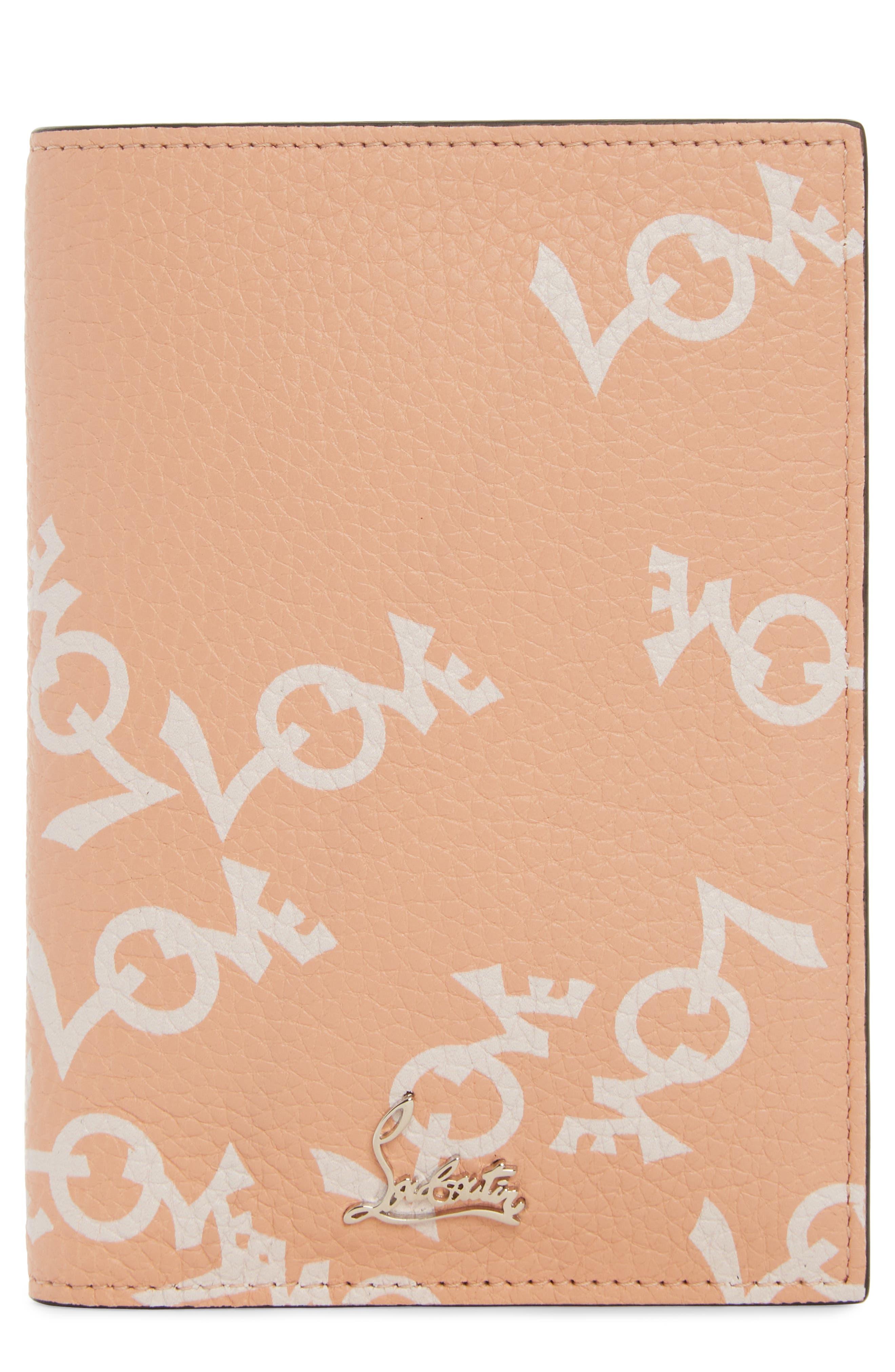 Loubipass Crazy Love Passport,                             Main thumbnail 1, color,                             Soie-Latte/ Silver