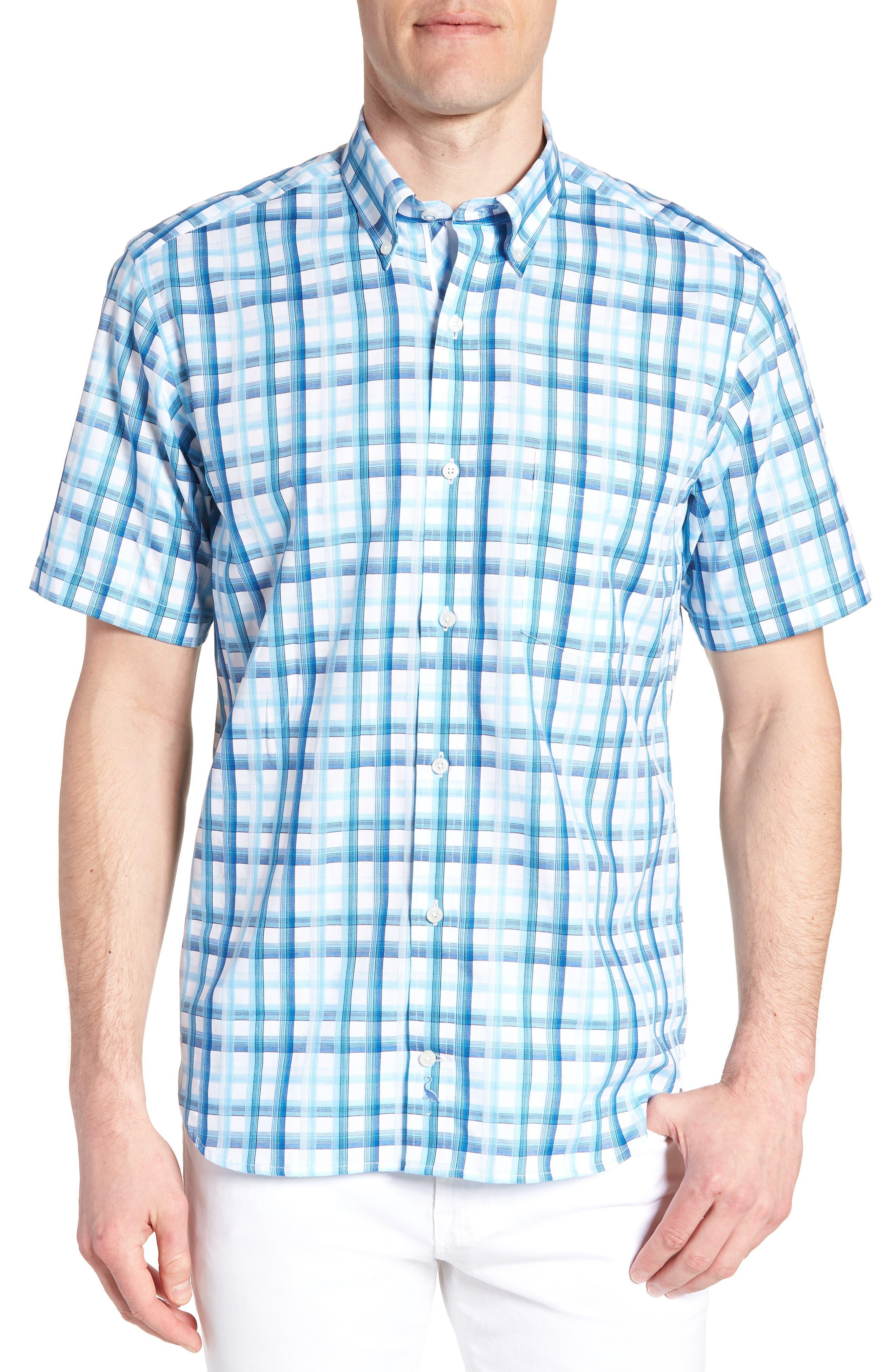 Larkin Regular Fit Plaid Sport Shirt,                         Main,                         color, Aqua