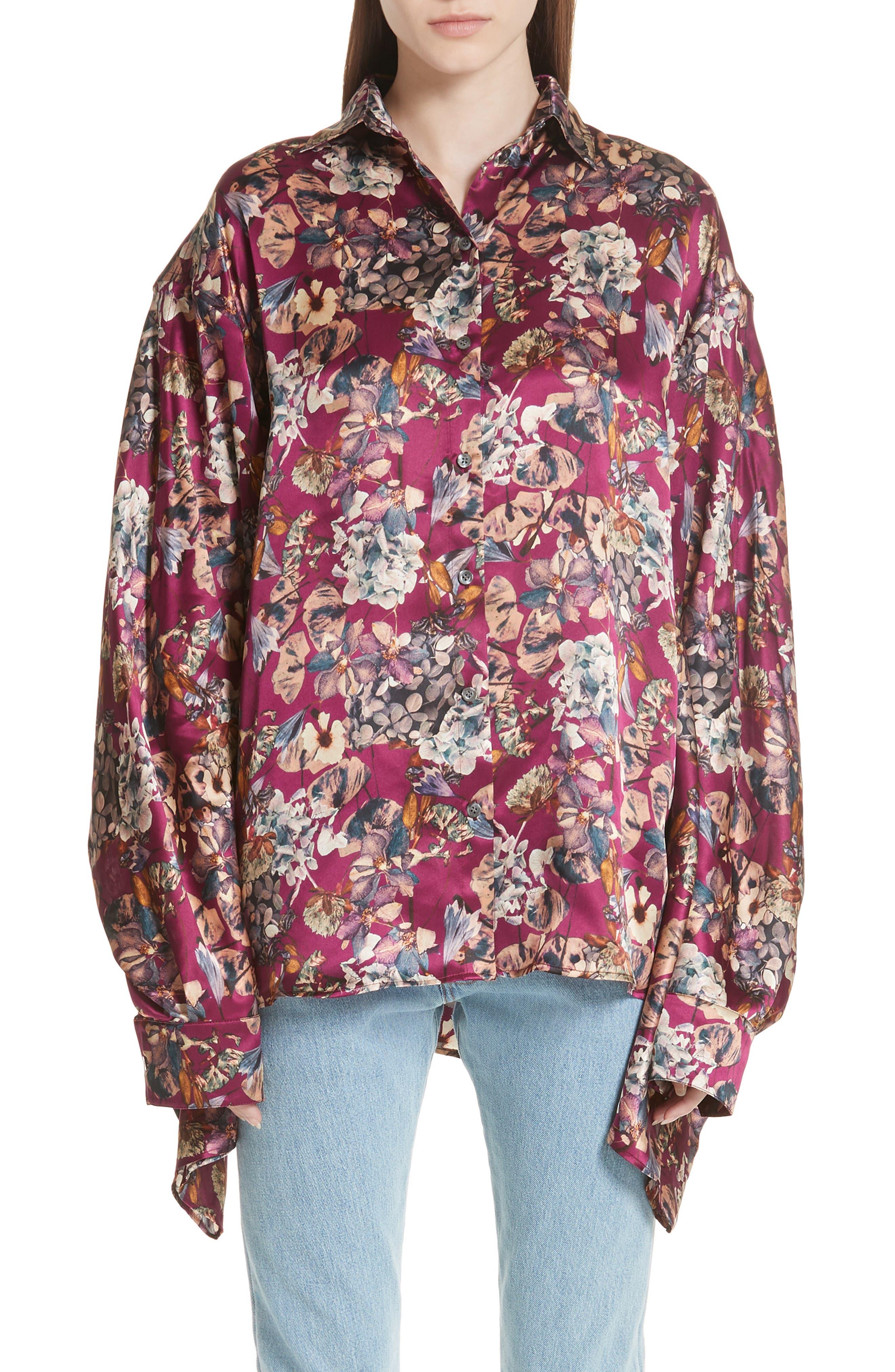 Floral Silk Blouse,                             Main thumbnail 1, color,                             Purple1
