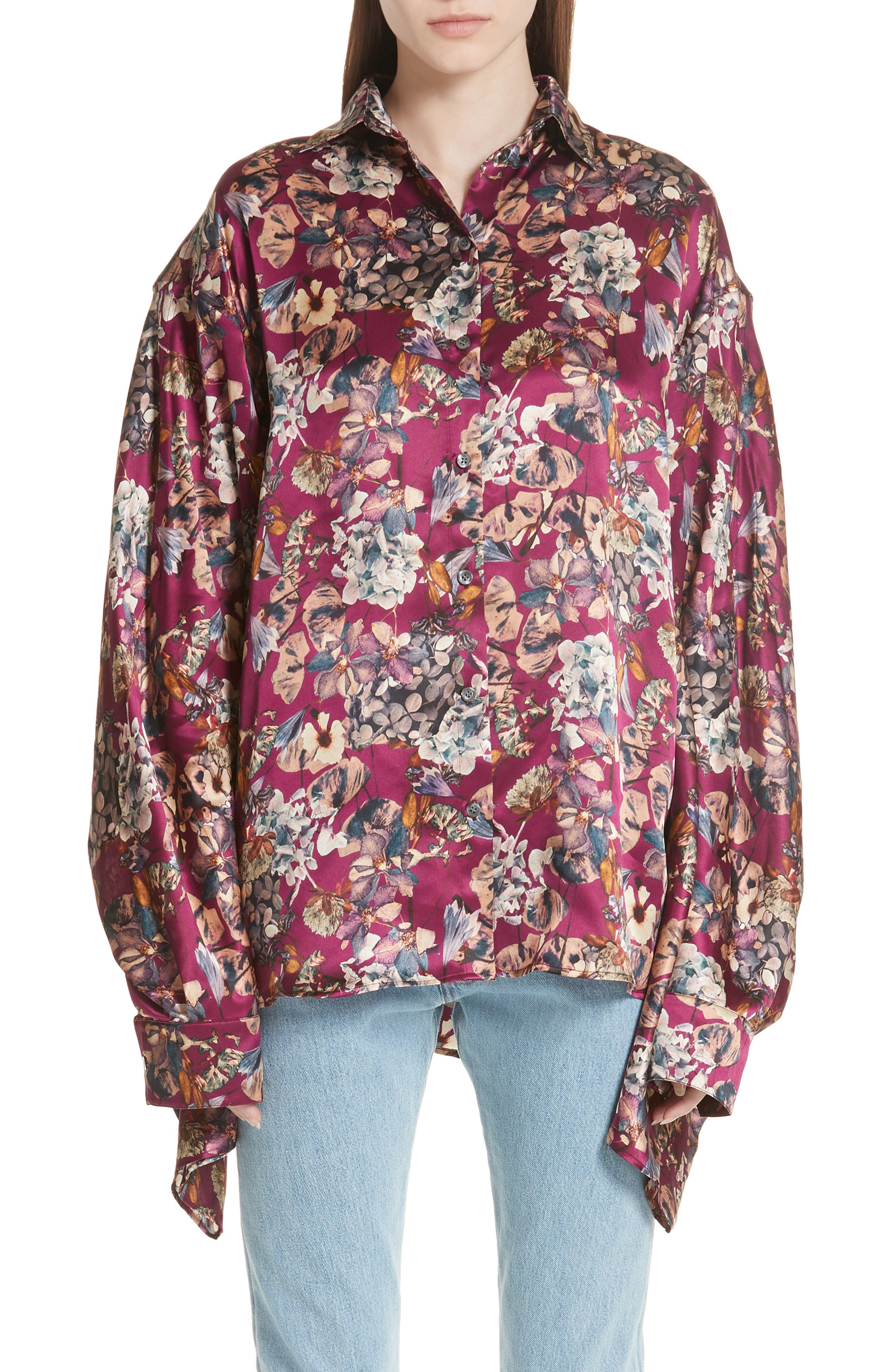 Floral Silk Blouse,                         Main,                         color, Purple1