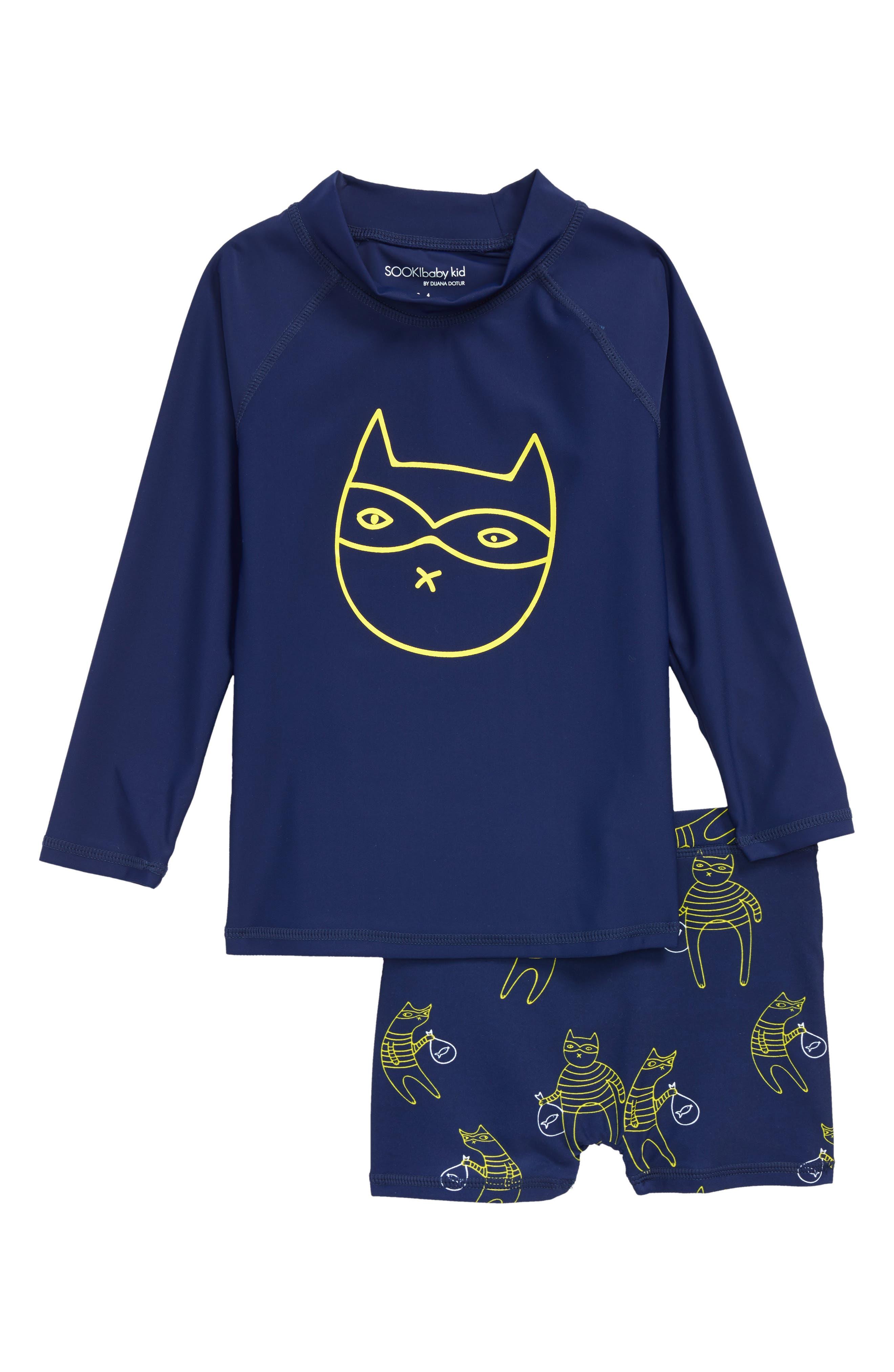 Main Image - SOOKIbaby Cat Bandit Two-Piece Rashgaurd Swimsuit (Baby Boys & Toddler Boys)